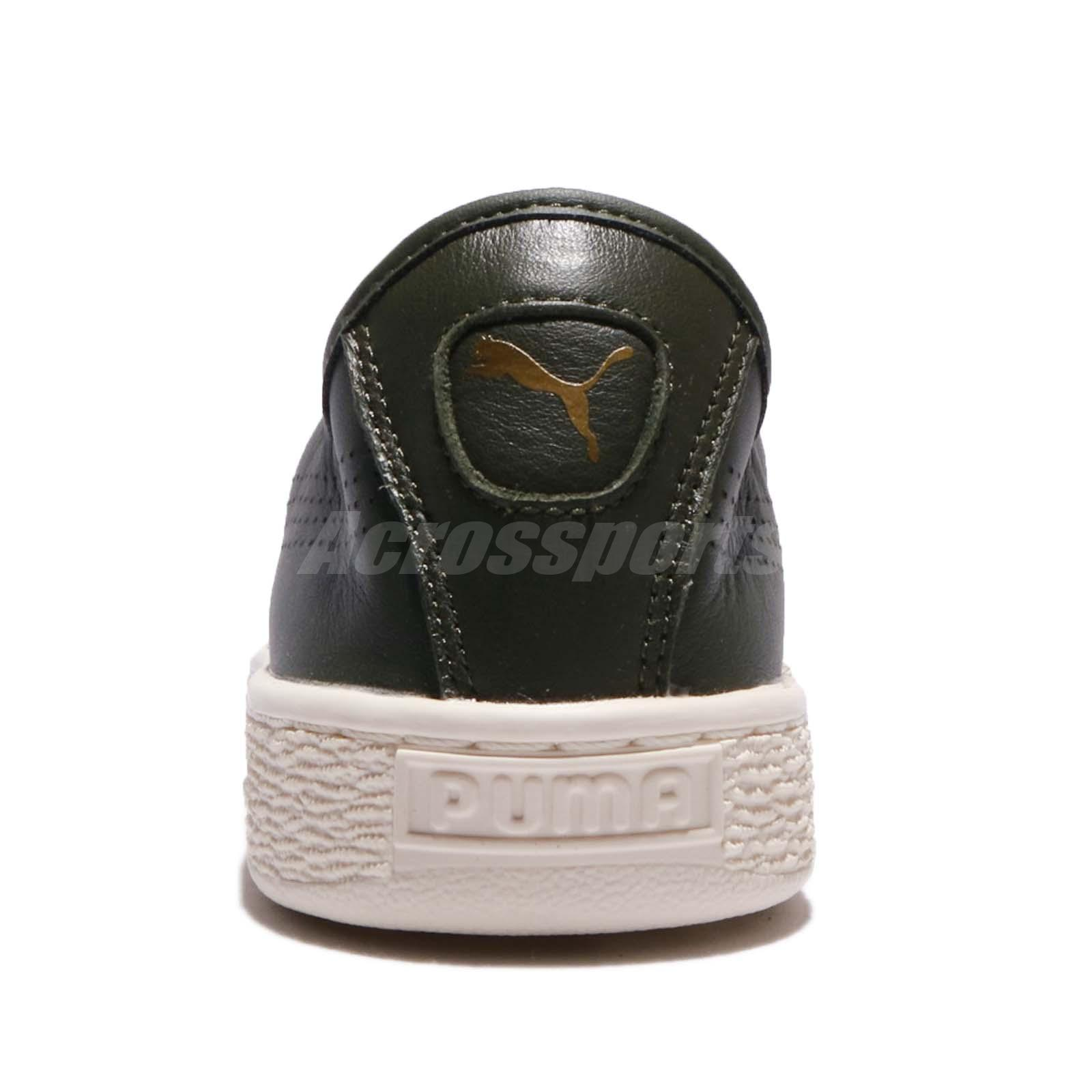 6933ff639ccd Puma Basket Classic Soft Leather Olive Ivory Men Shoes Sneakers ...