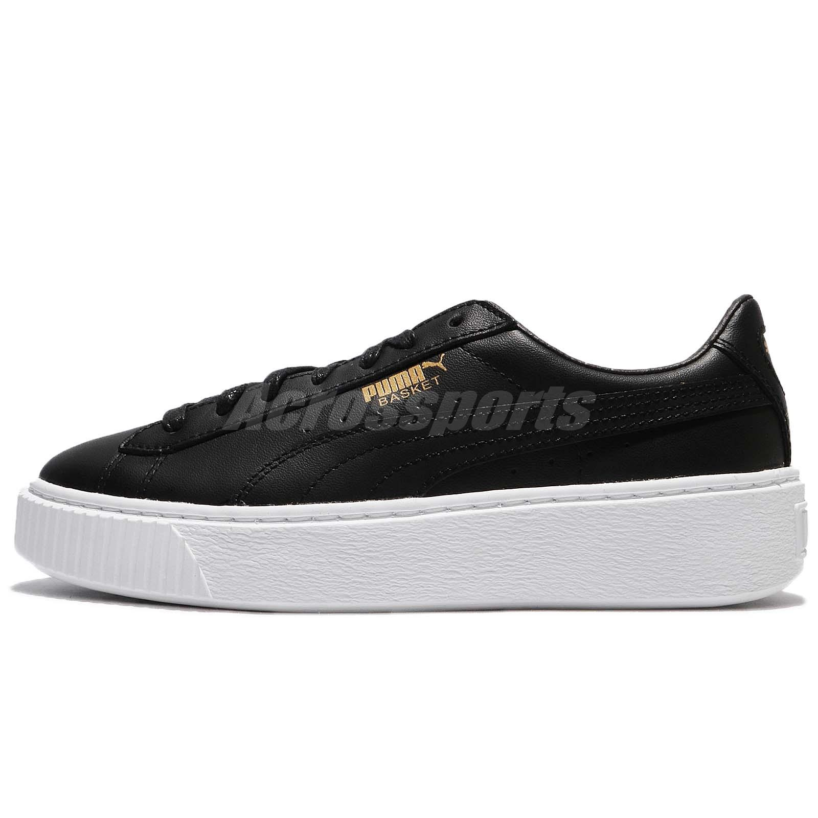 Puma Basket Platform Core Black Gold Leather Women Fashion Shoe Sneaker  36404003 1a95c012c