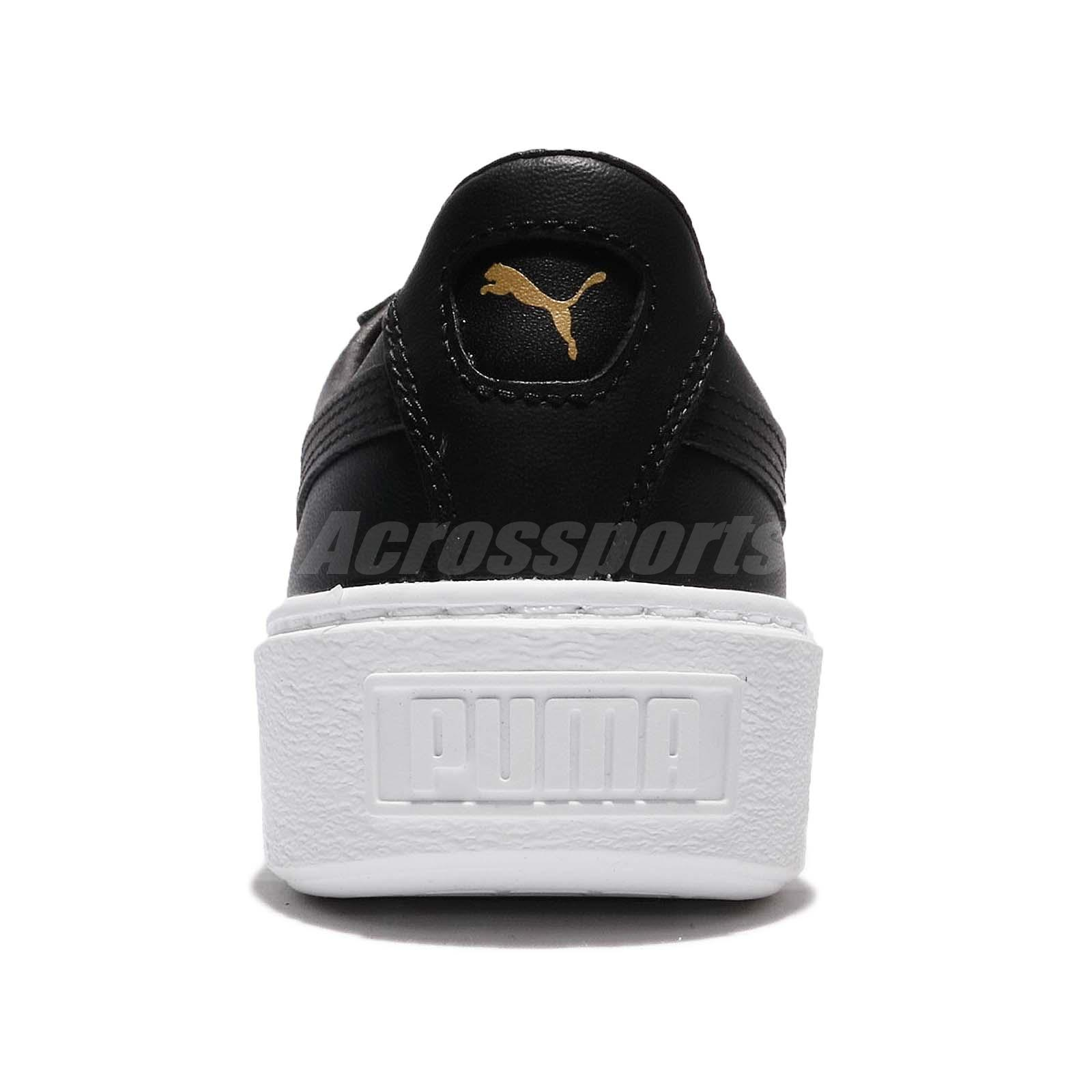 Puma Basket Platform Core Black Gold Leather Women Fashion Shoe ... f467ba51b