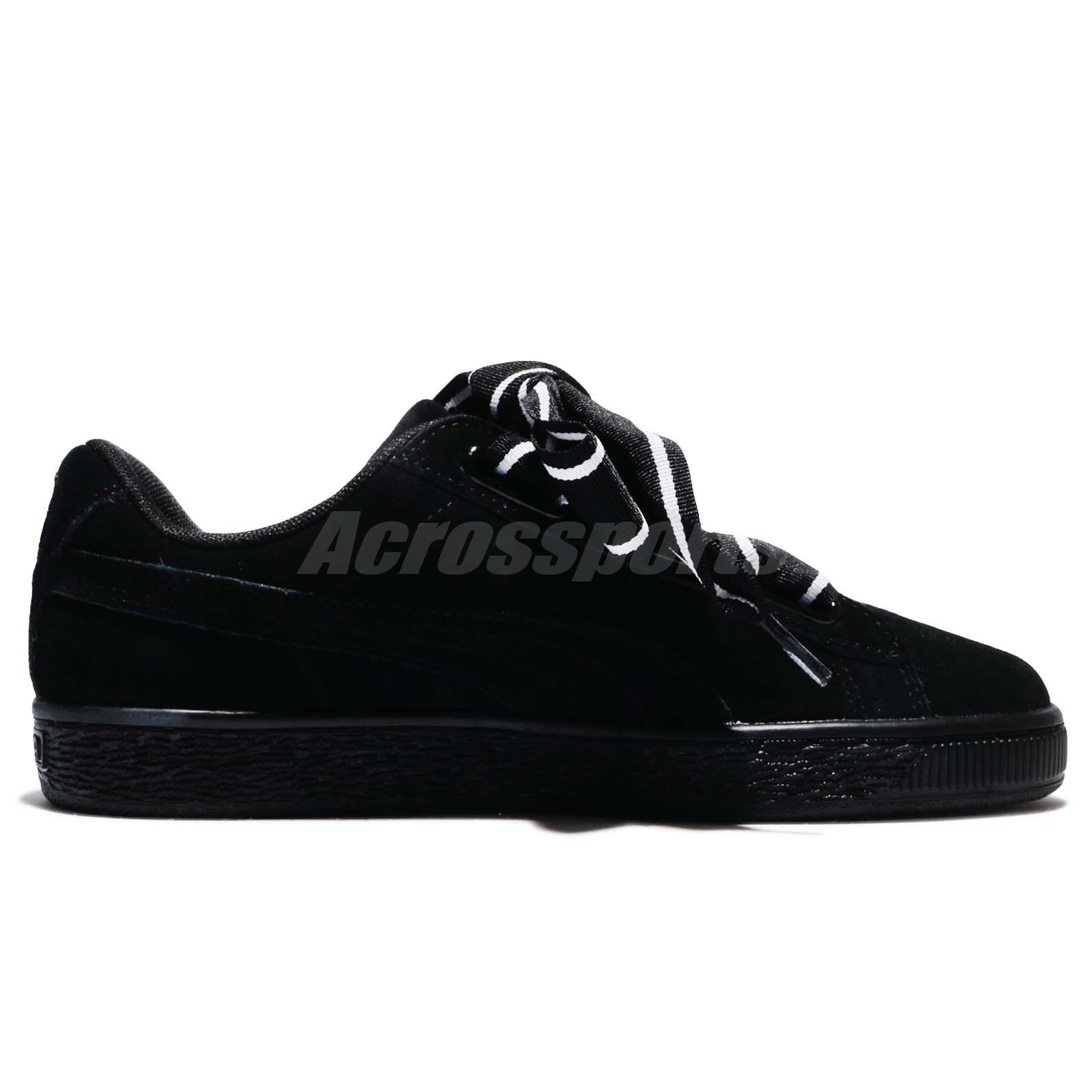 Puma Suede Heart Satin II Wns 2 Black White Suede Women Shoes ... be7c5554f