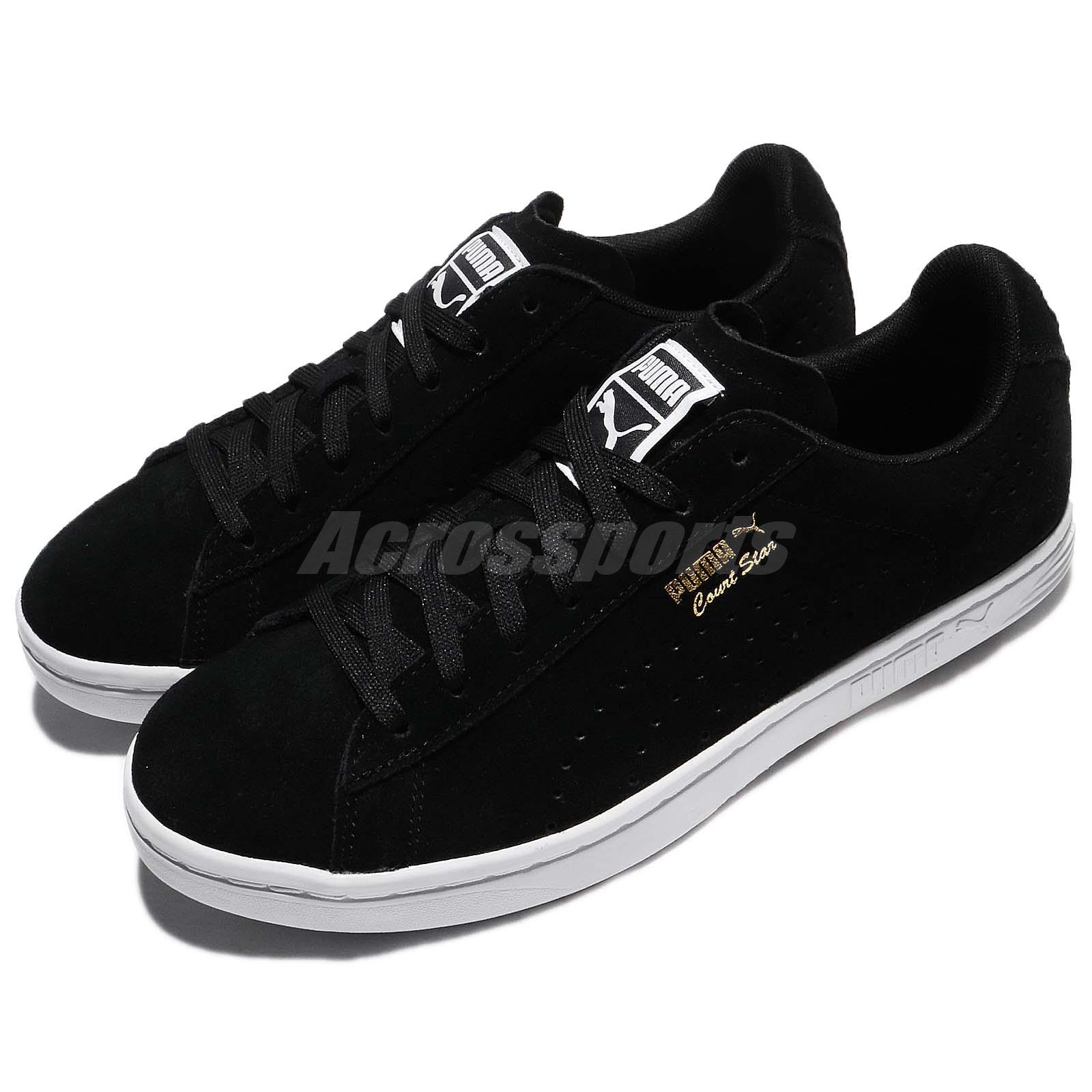 best loved 6502e 77dea Details about Puma Court Star Suede Black White Gold Men Casual Shoes  Sneakers 364621-01