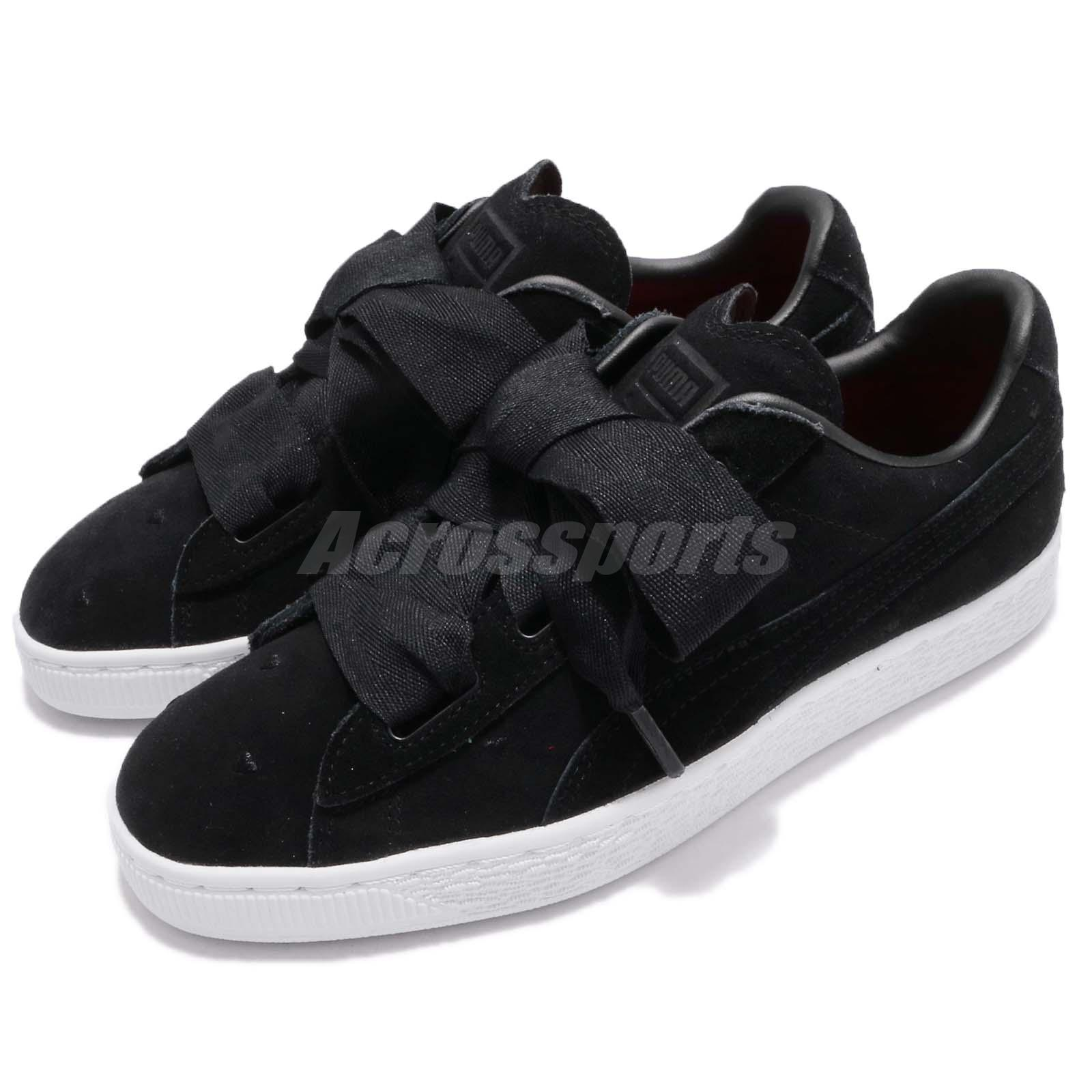 489fb4efe3f9a Details about Puma Suede Heart Valentine JR Black White Kids Junior Youth  Shoes 365135-02