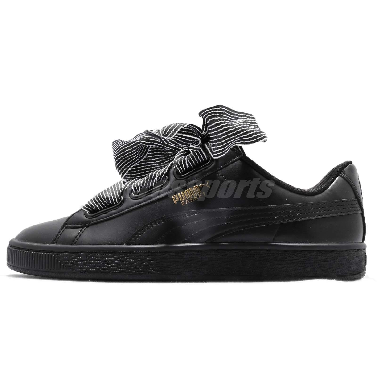 Puma Basket Heart Wns Black Women Casual Shoes Sneakers Trainers 365198-01 a4f1824c3