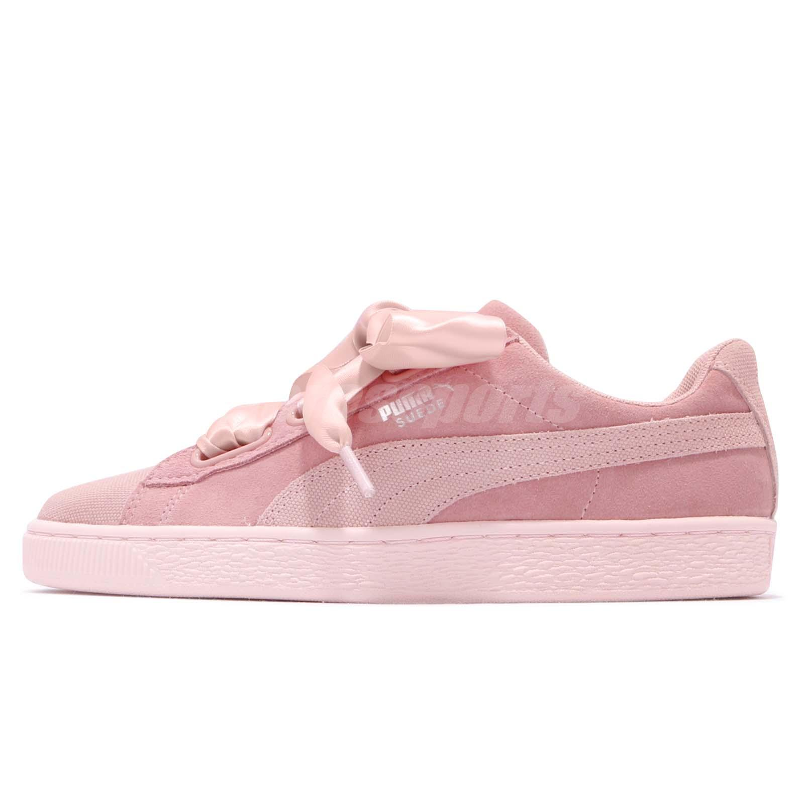 e055cea06e01 Puma Suede Heart Pebble Wns Peach Beige Pink Bow Women Shoes Sneakers  365210-01