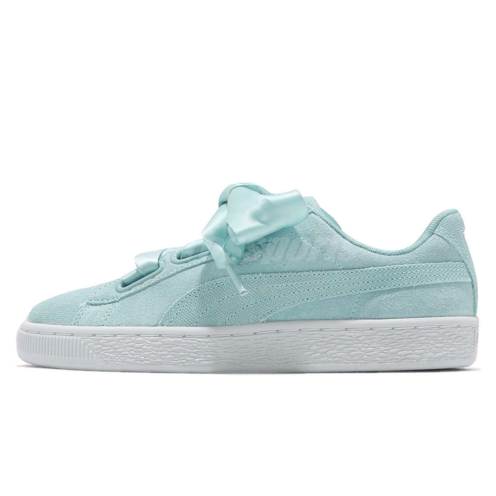 Women Blue Bow Suede Puma Shoes Aquifer Heart Flower Pebble Wns 8q6wq