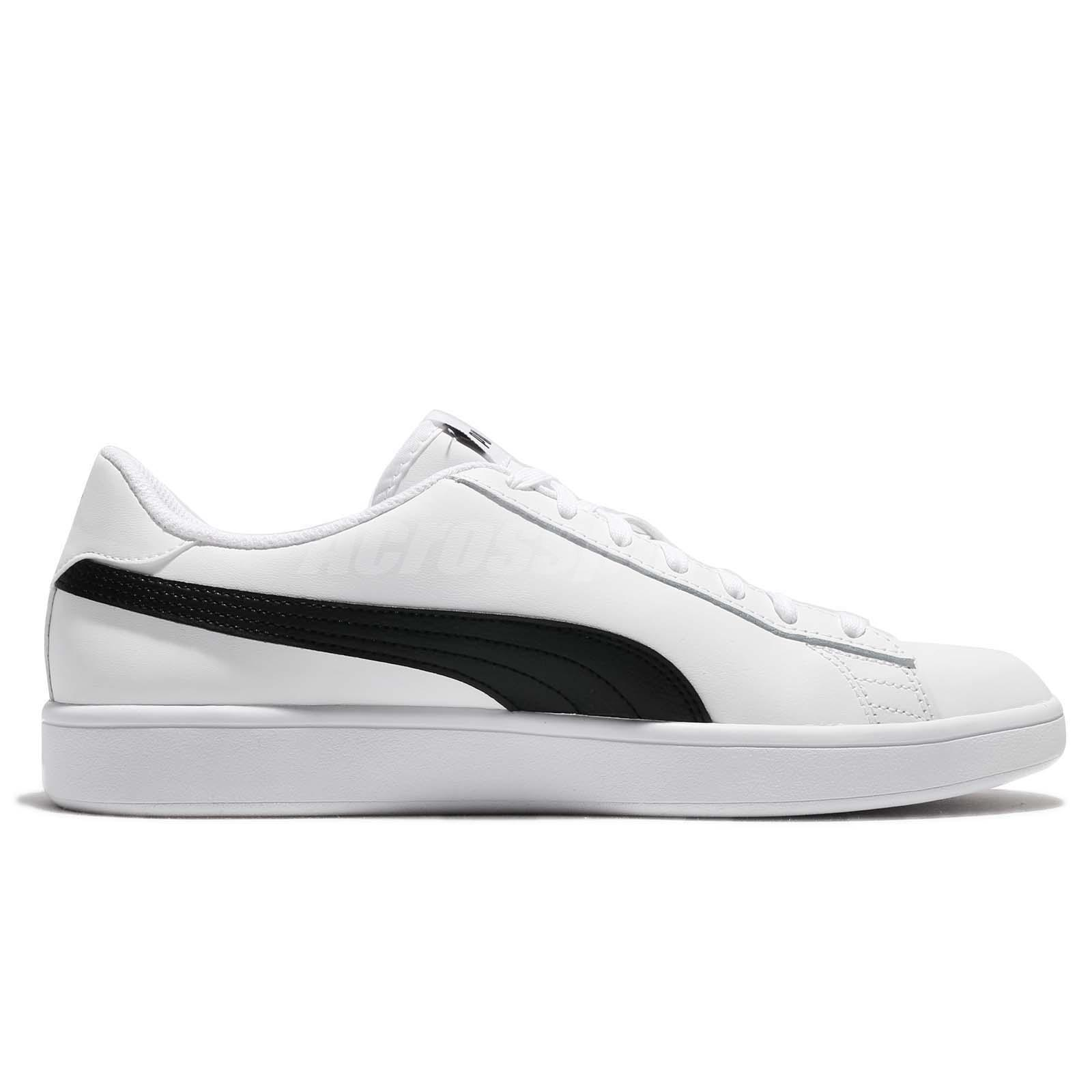 33dee8752 Puma Smash V2 L White Black Classic Men Shoes Sneakers Trainers ...