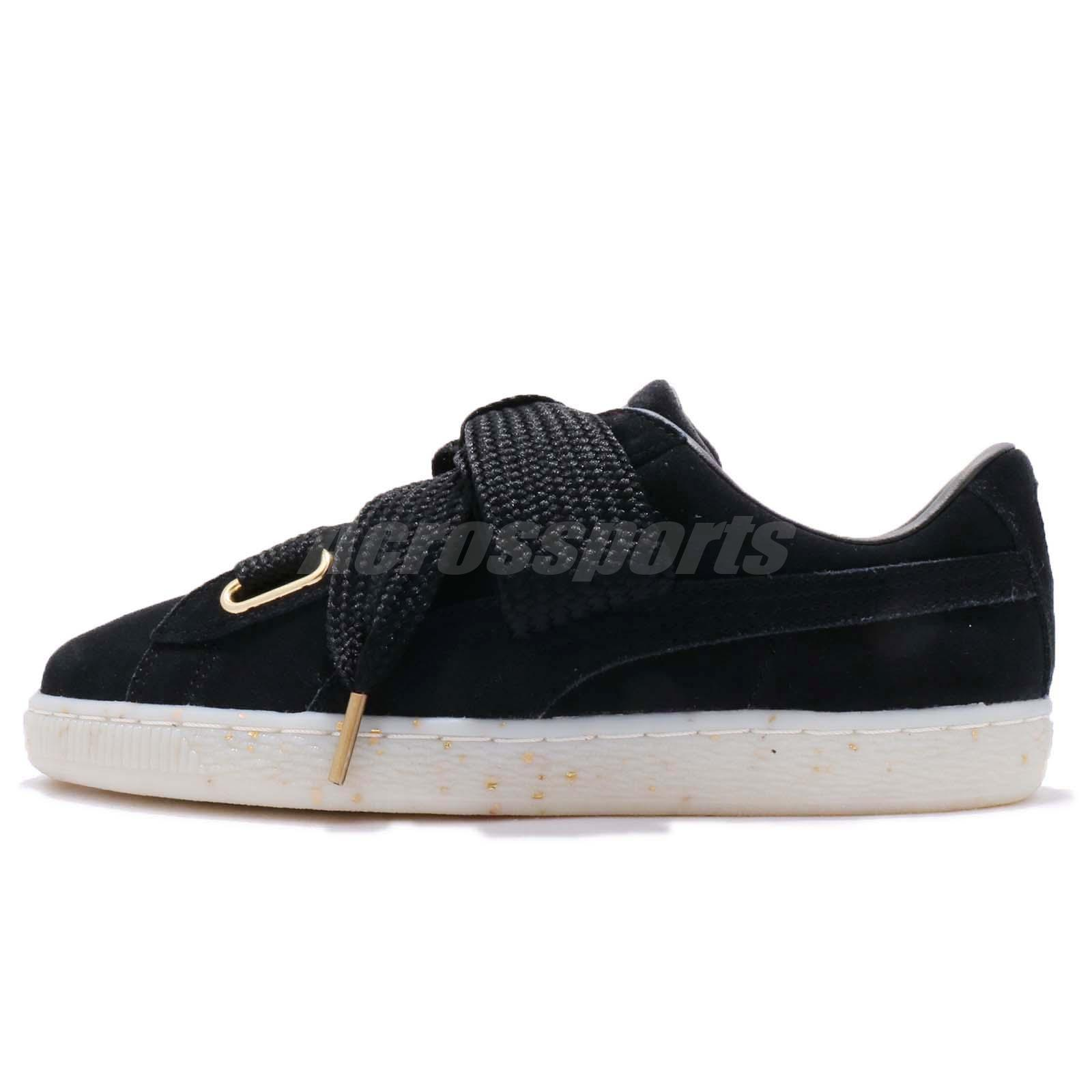 2ce21b84b4d Puma Suede Heart Celebrate Wns Suede Black Gold Women Shoes Sneakers  365561-01
