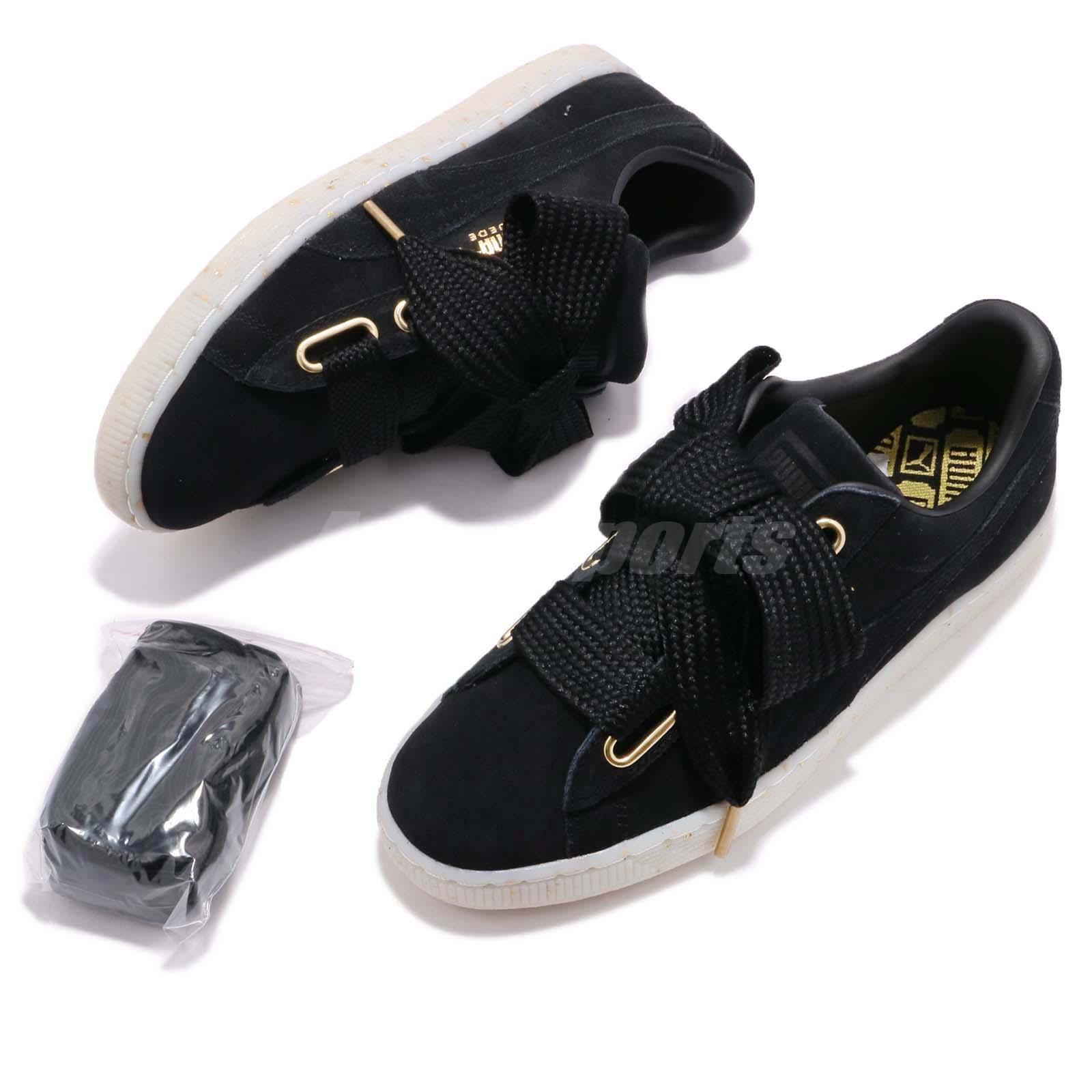 6ba88a581f3 Puma Suede Heart Celebrate Wns Suede Black Gold Women Shoes Sneakers ...