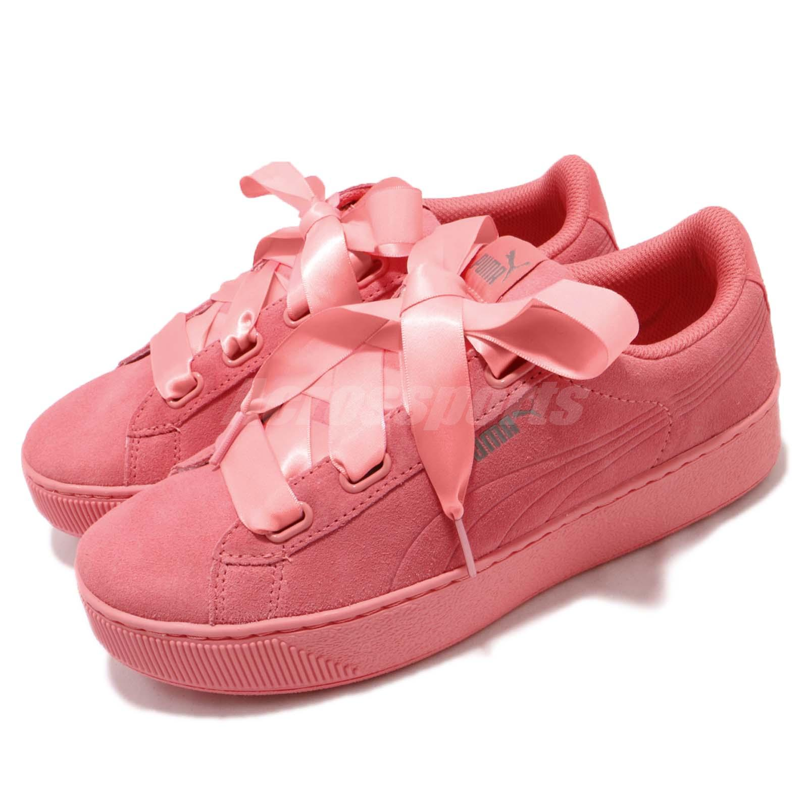 Puma Vikky Platform Ribbon S Bow Bold Shell Pink Women Casual Shoes 366418 03