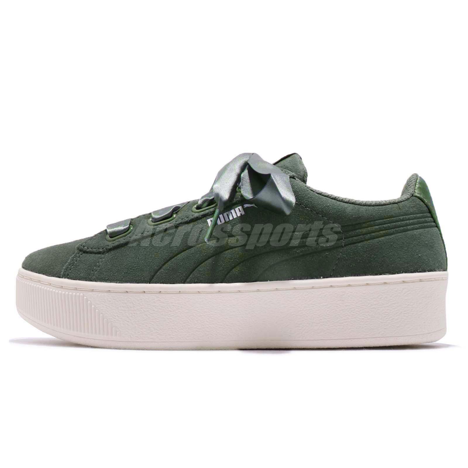bee19888007082 Puma Vikky Platform Ribbon S Green White Women Casual Shoes Sneakers 366418 -05