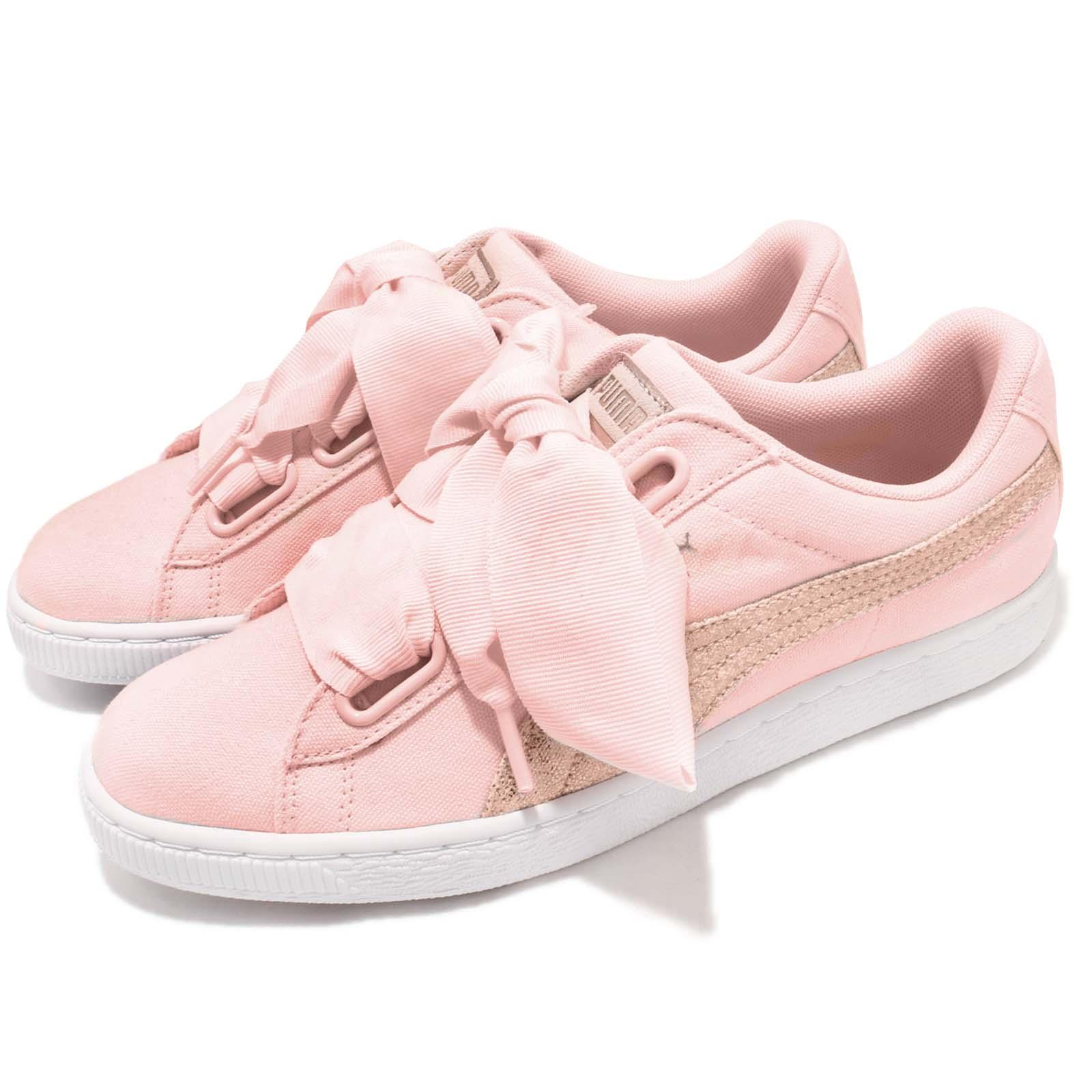 Puma Basket Heart Canvas Wns Pearl White Rose Gold Women Casual Shoes 366495 02