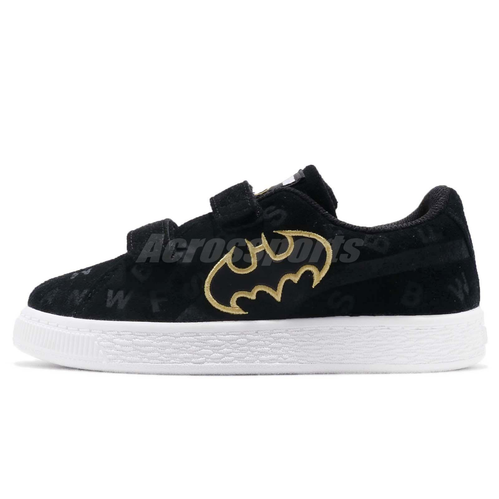 cb3cd054e89c9d Puma JL Suede AOP V PS Justice League Batman Black Kid Preschool Shoes  366559-01