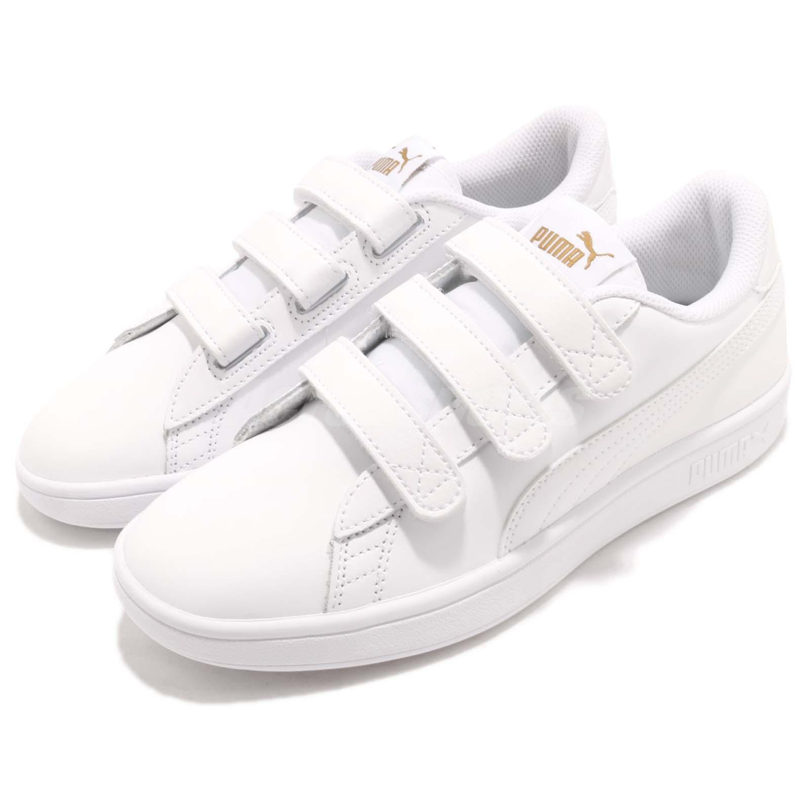 Details about Puma Smash V2 V Strap White Gold Men Casual Walking Shoes  Sneakers 366910-03 7ca9b4a73