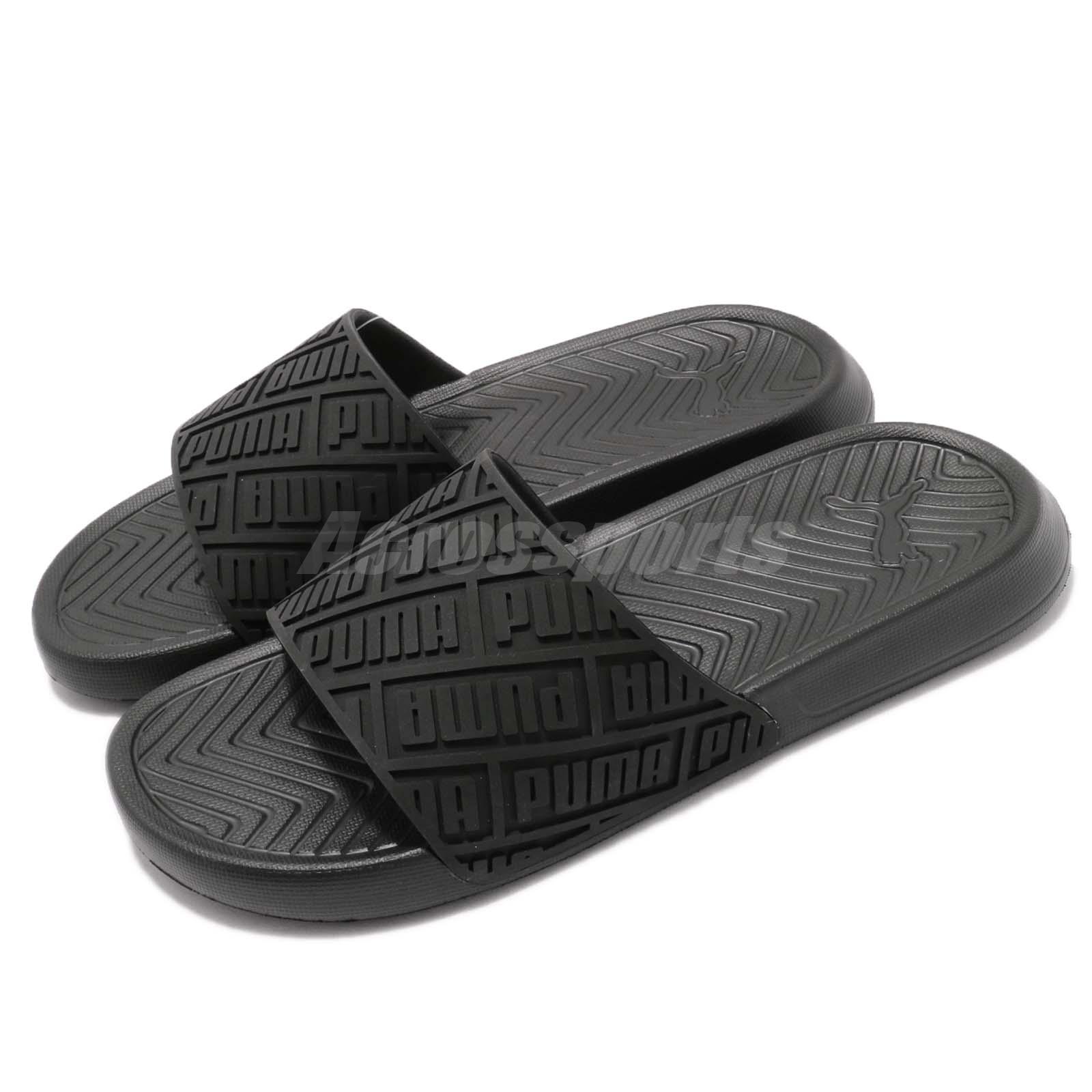 Details about Puma Popcat Rubber Triple Black Men Sports Sandals Slides  Slippers 367284-01 829663f4e