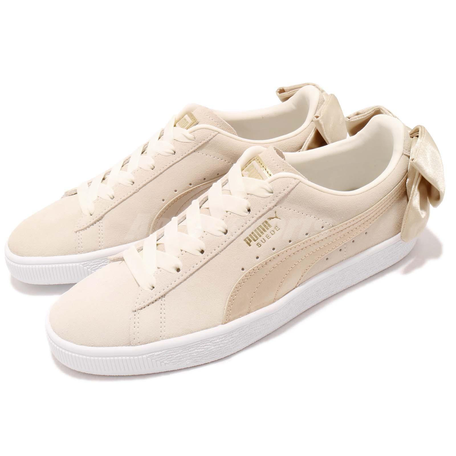 low priced 286f2 7ccc0 Details about Puma Suede Bow Varsity Wns Beige Gold Womens Casual Shoes  Sneakers 367732-03