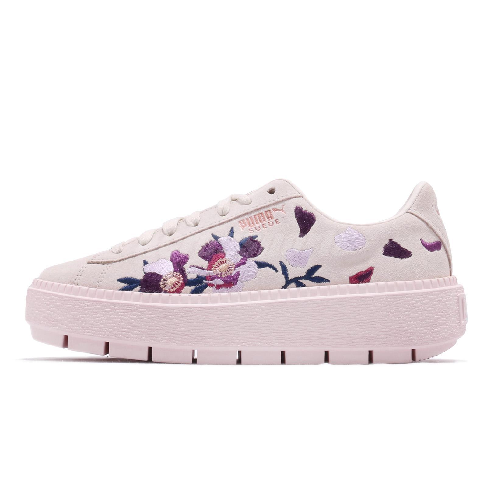 Puma Suede Platform Trace Flowery White Mauve Morn Rose Gold Women 367810-01 dd9dd85e9