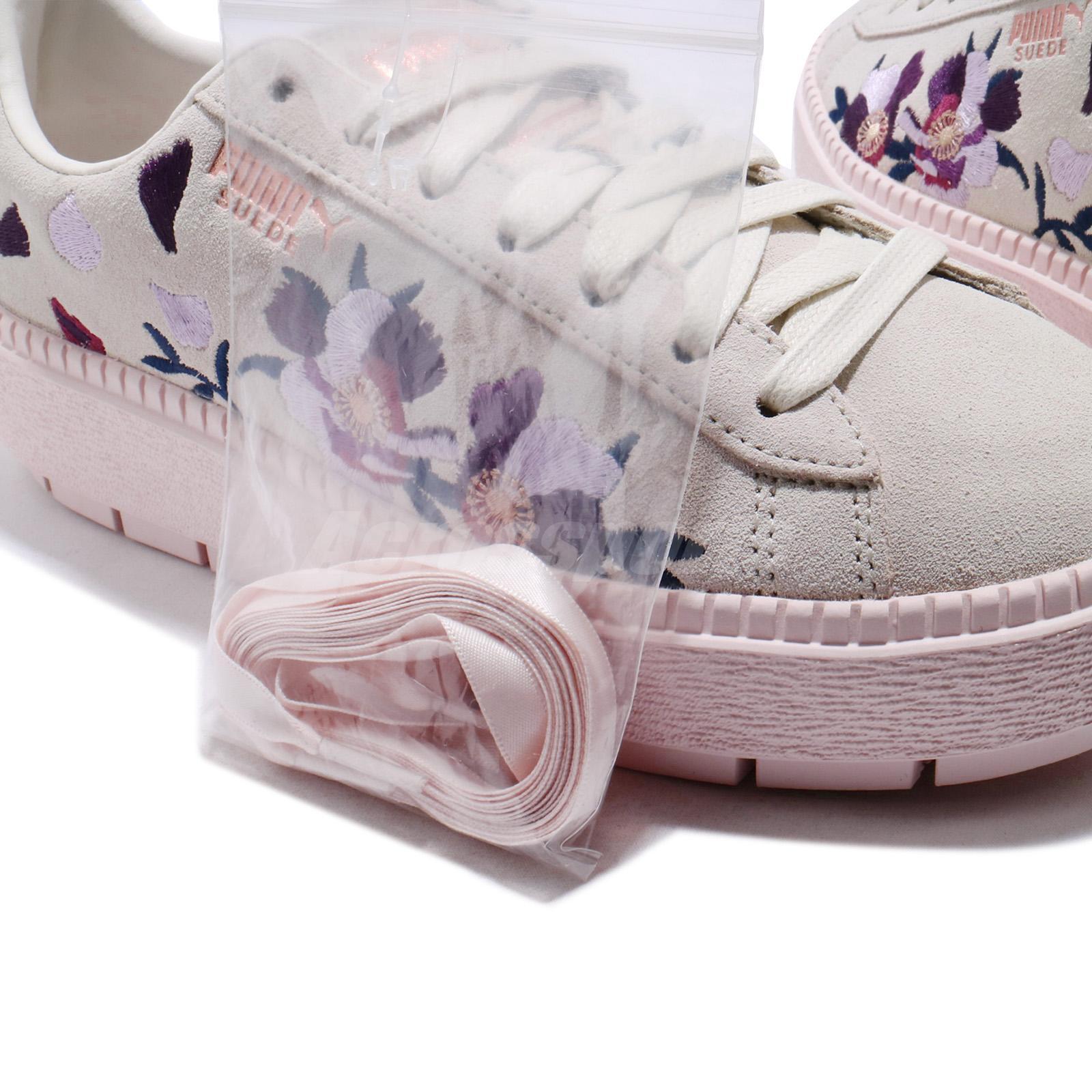 Puma Suede Platform Trace Flowery White Mauve Morn Rose Gold Women ... 6ffa26083
