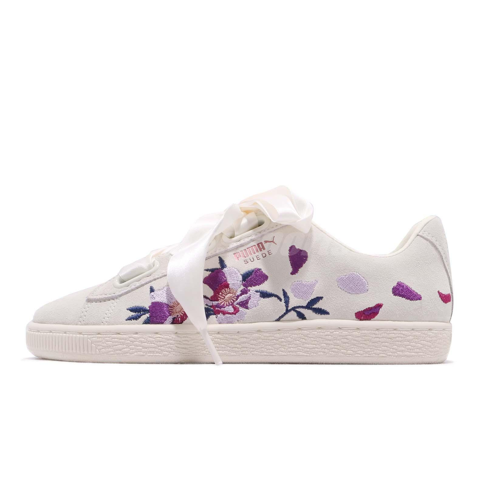 Puma Suede Heart Flowery Wns Whisper White Rose Gold Women Casual Shoe  367811-02 75bc2b46d