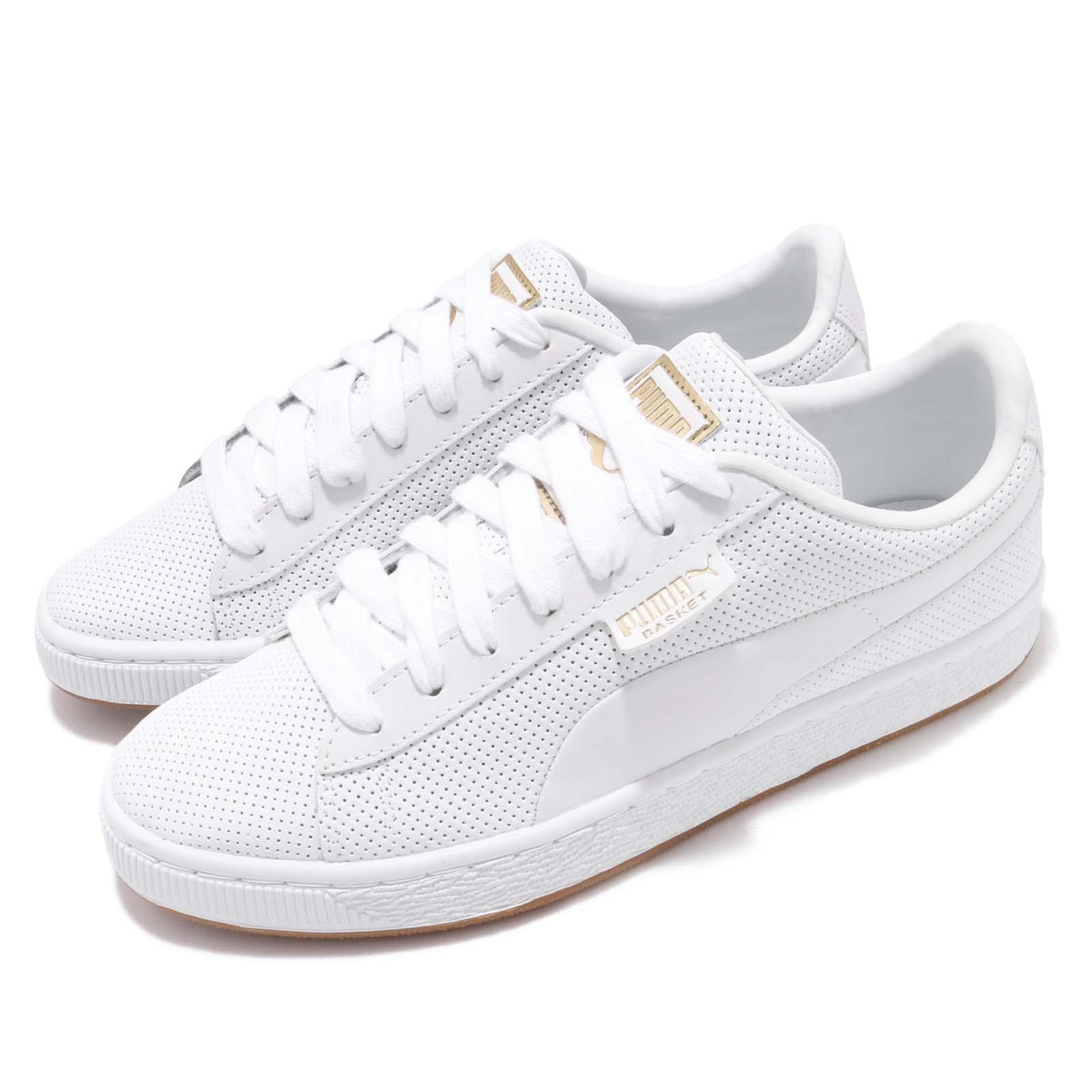 size 40 5f9f5 e808e Details about Puma Basket Classic Gum JR White Gold Kid Junior Casual Shoes  Sneakers 368962-02