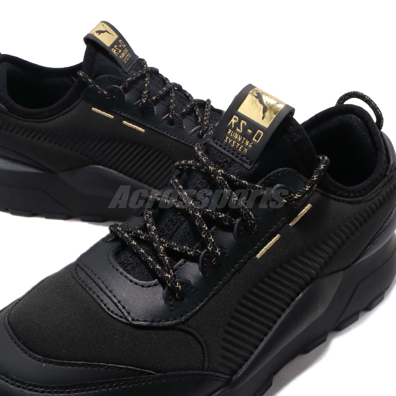 plus récent d07f6 45463 Details about Puma RS-0 Trophy JR Running System Black Gold Kid Junior  Women Shoes 369033-01
