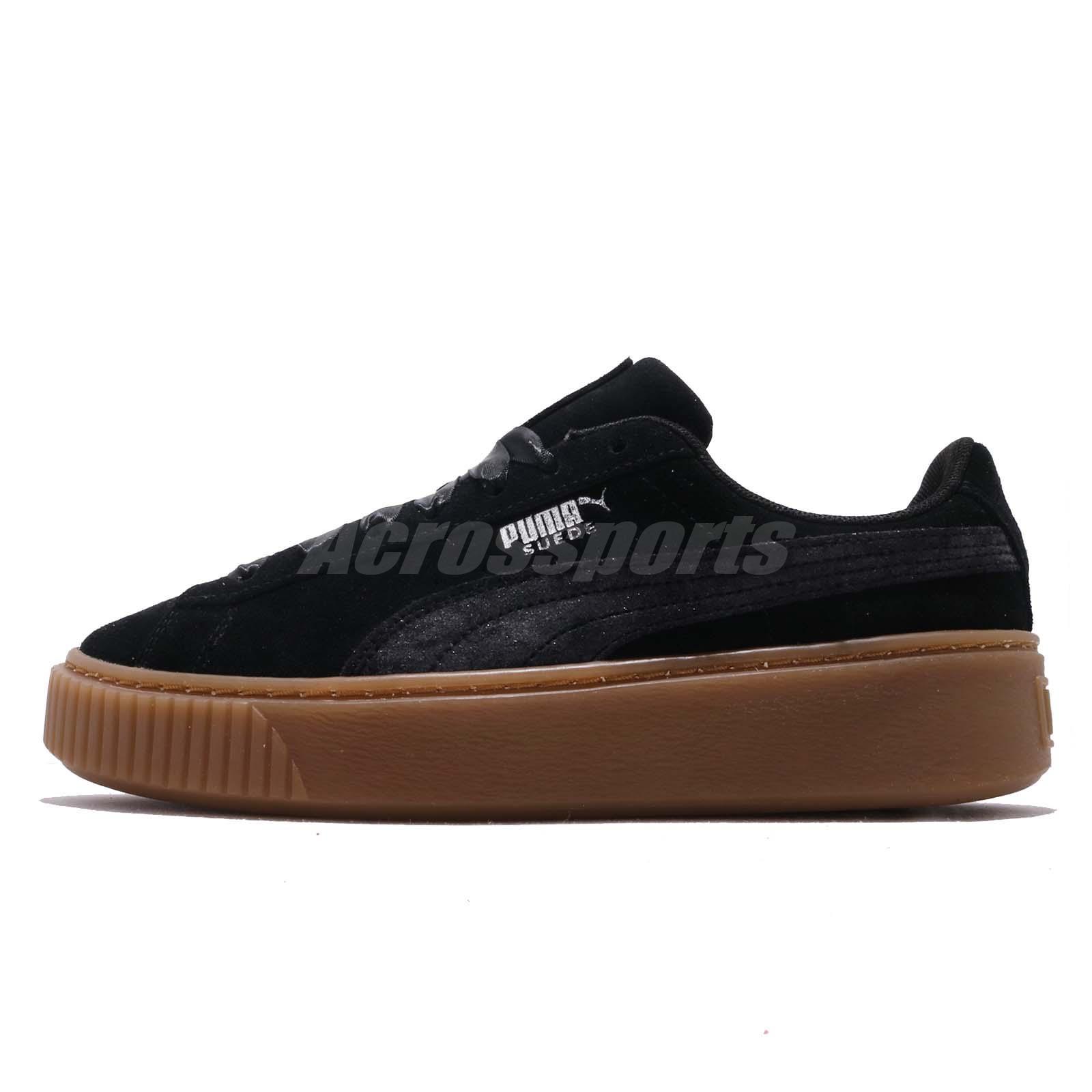 2bbd62f183e2 Puma Platform Galaxy Wns Black Gum Silver Women Casual Shoes Sneakers  369172-03