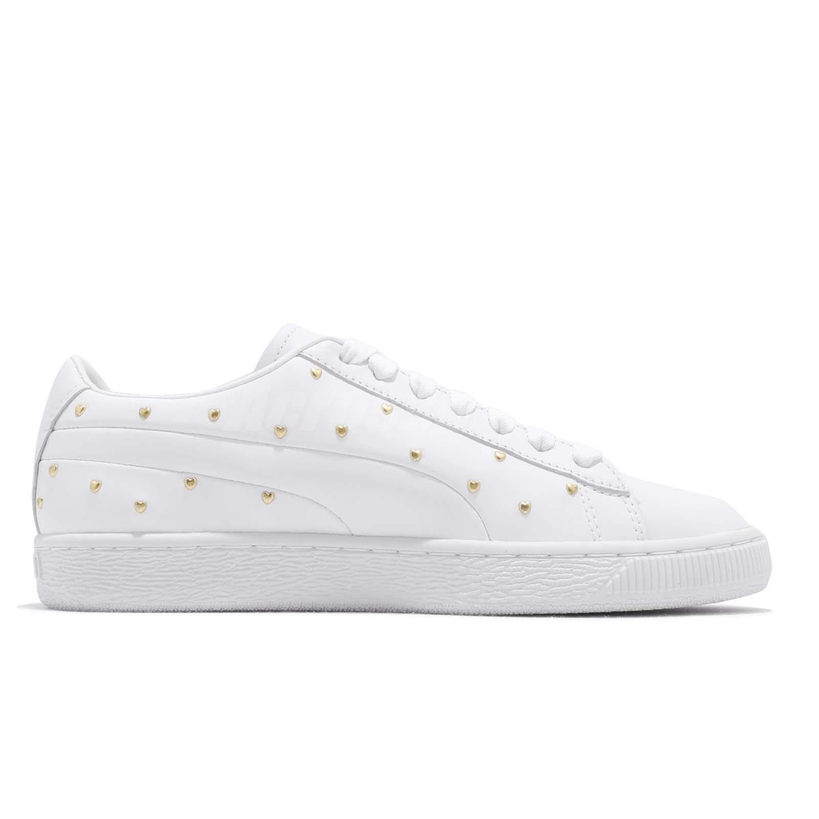 Details about Puma Basket Studs Wns White Gold Women Casual Lifestyle Shoes Sneakers 369298 01