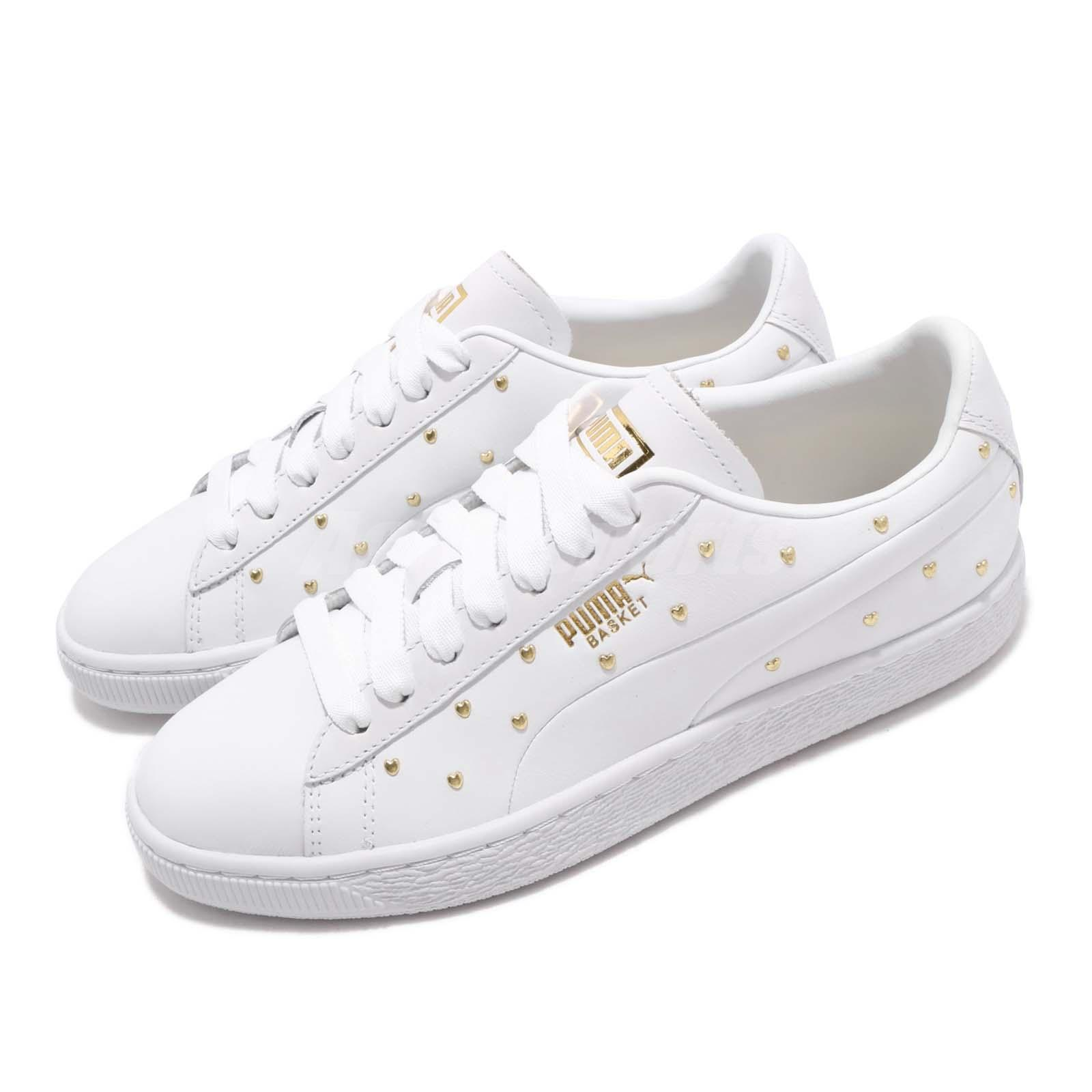 165adc9da6 Details about Puma Basket Studs Wns White Gold Women Casual Lifestyle Shoes  Sneakers 369298-01