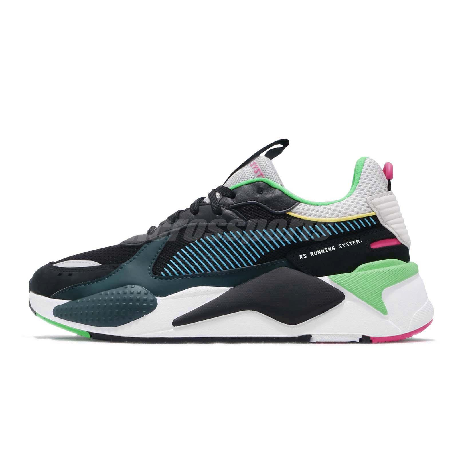 the best attitude 4aaa4 db6eb Details about Puma RS-X Toys Running System Black Blue Atoll Men Women  Shoes Sneaker 369449-01