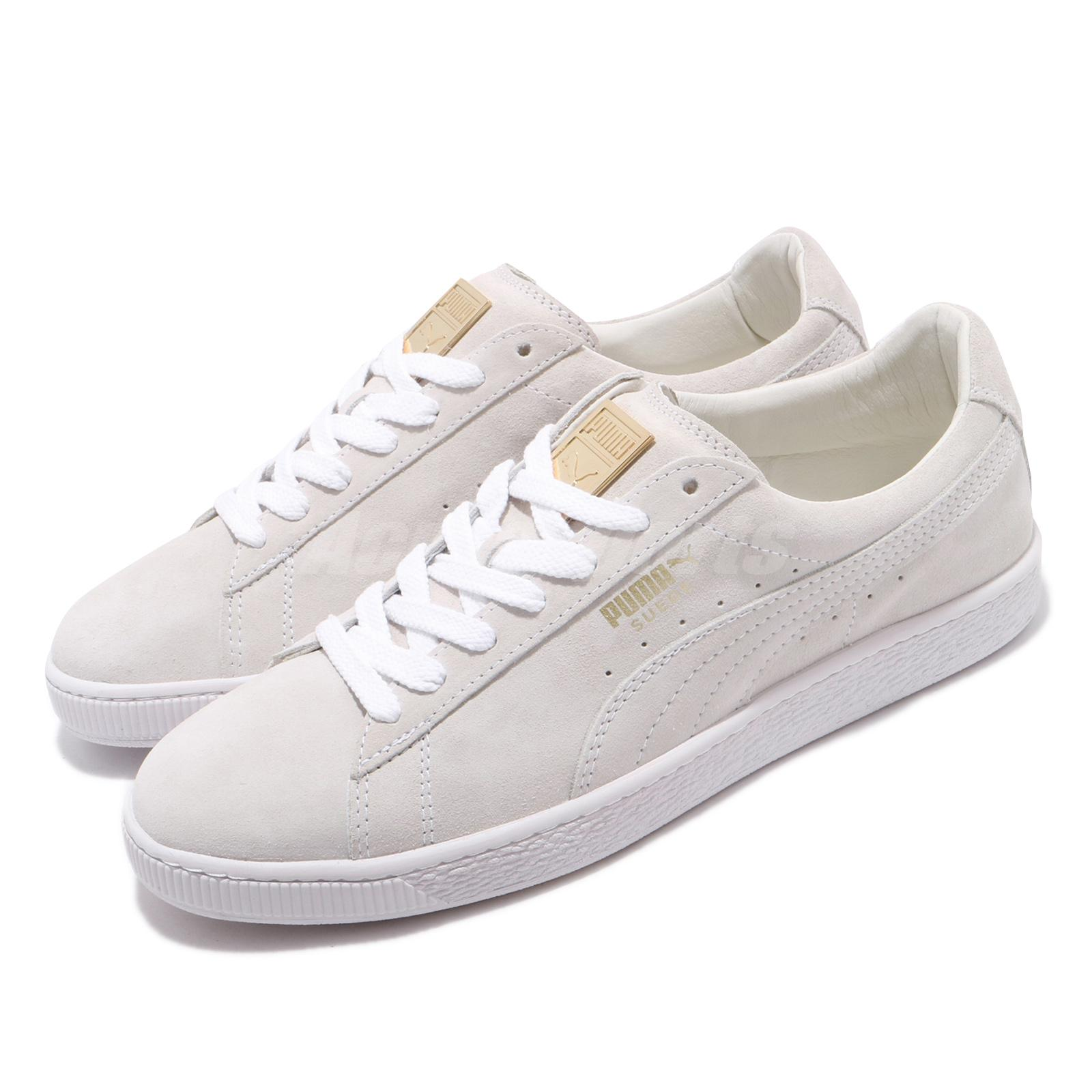 super popular 4f064 4c21f Details about Puma Suede Classic Metal Badge White Ivory Gold Men Women  Unisex Shoes 370081-02