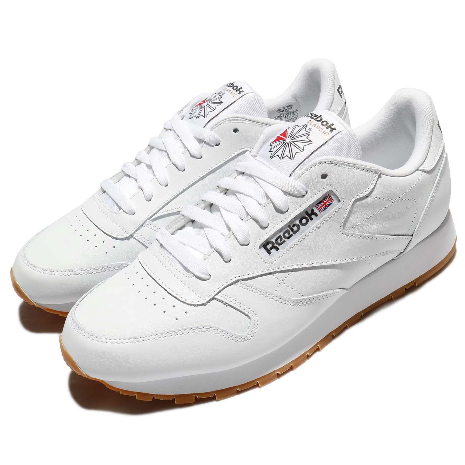 Details about Reebok CL LTHR Leather White Gum Retro Men Running Shoes  Sneakers 49799 f872500e5