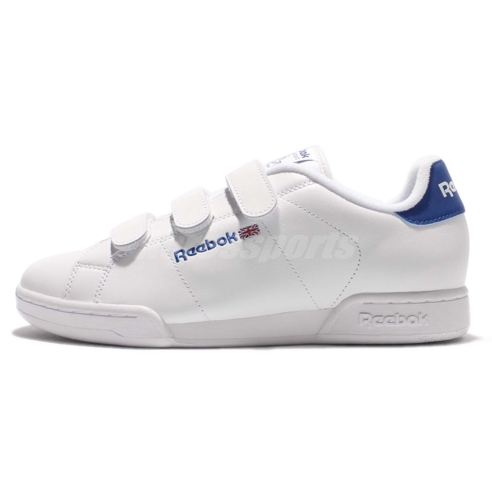 reebok npc straps white blue leather men court classic shoes sneakers ar1649 ebay. Black Bedroom Furniture Sets. Home Design Ideas