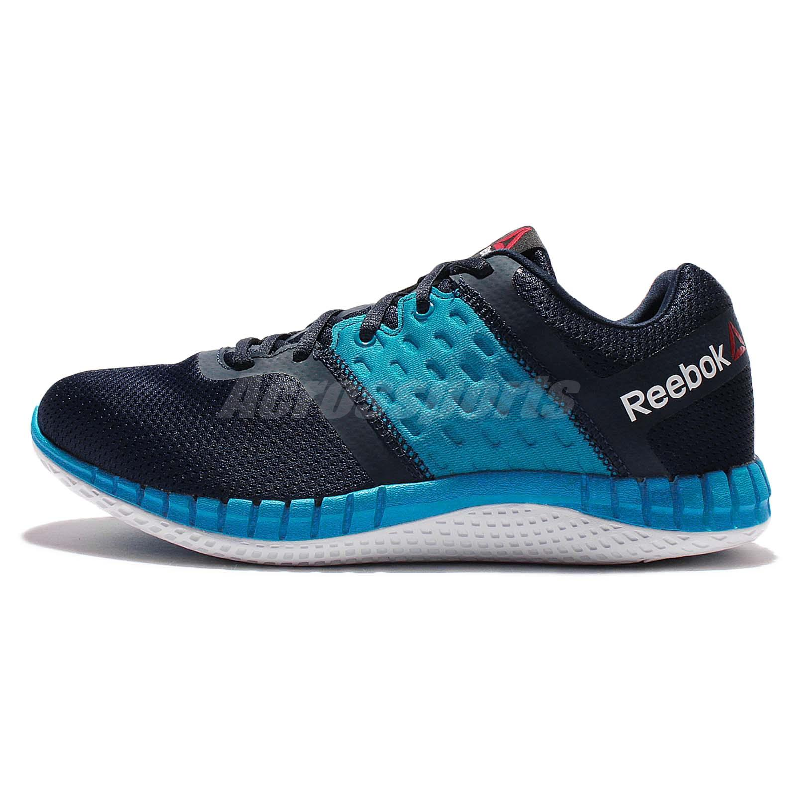 Reebok ZPrint Run Neo Blue Black Mens Running Shoes Sneakers AR3032