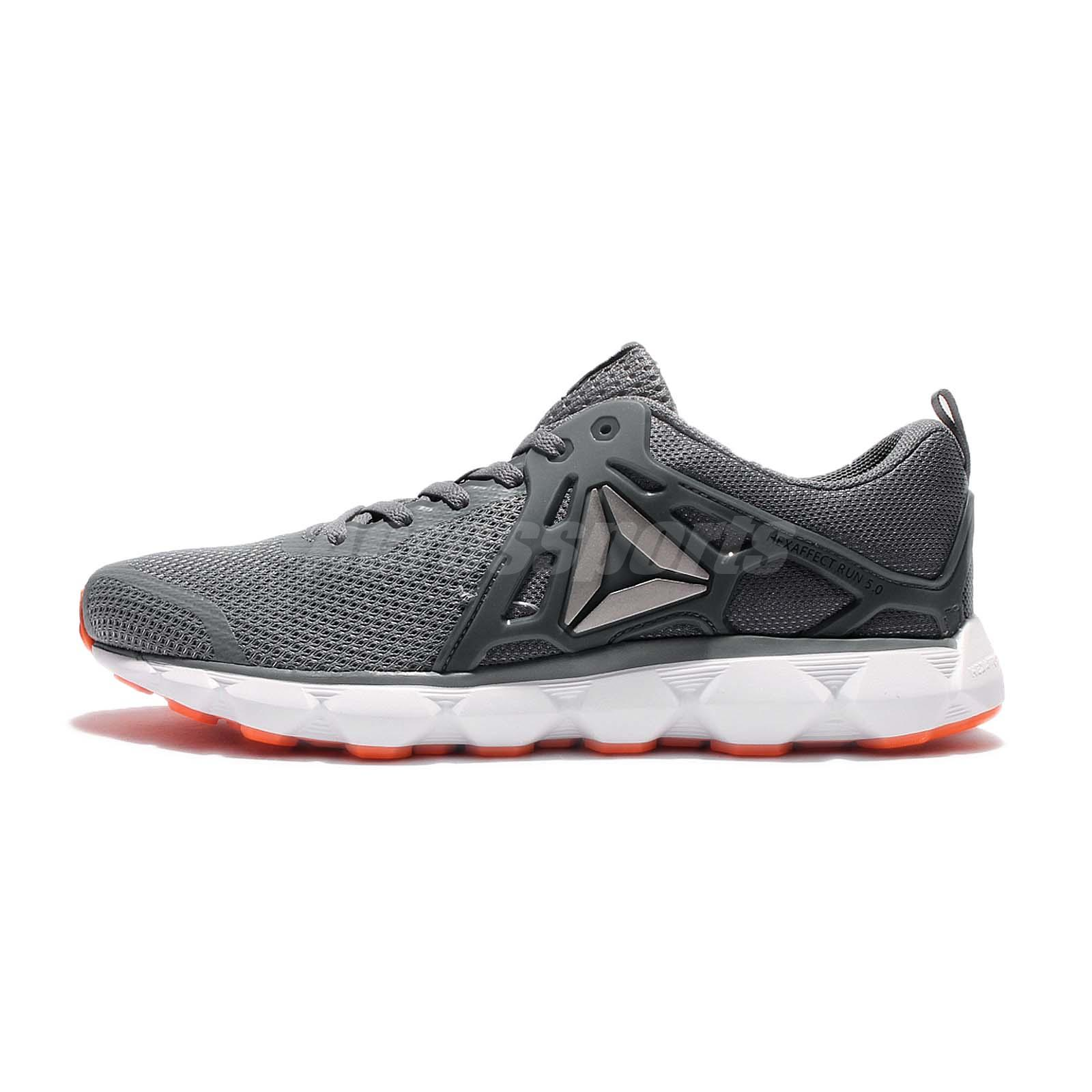 ff7bdd29066e7a Reebok Hexaffect Run 5.0 MTM Grey Orange White Men Running Shoes Sneakers  BD4698
