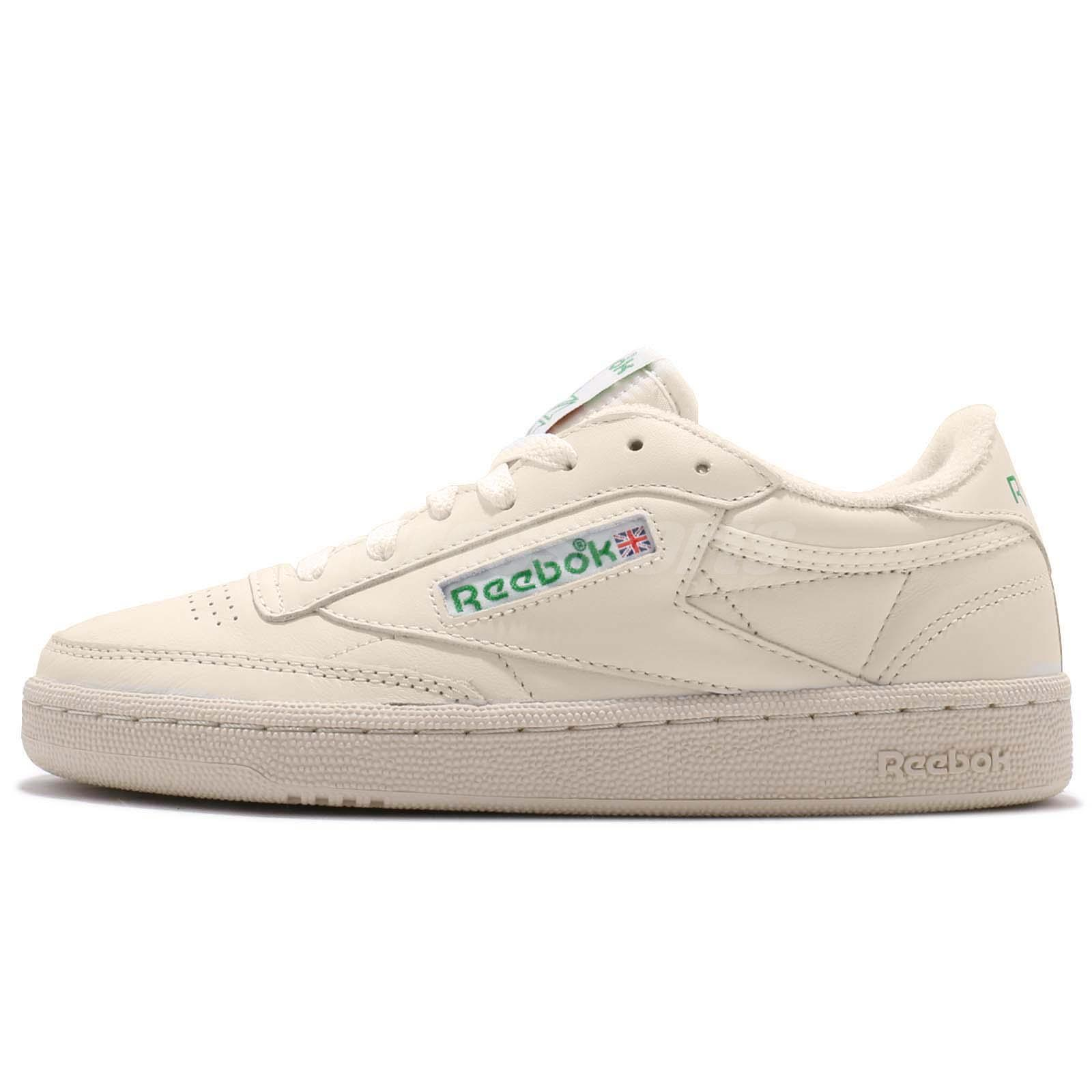 906d5c20869fc Reebok Club C 85 Vintage Leather Chalk Green Women Classic Shoes Sneakers  BS8242