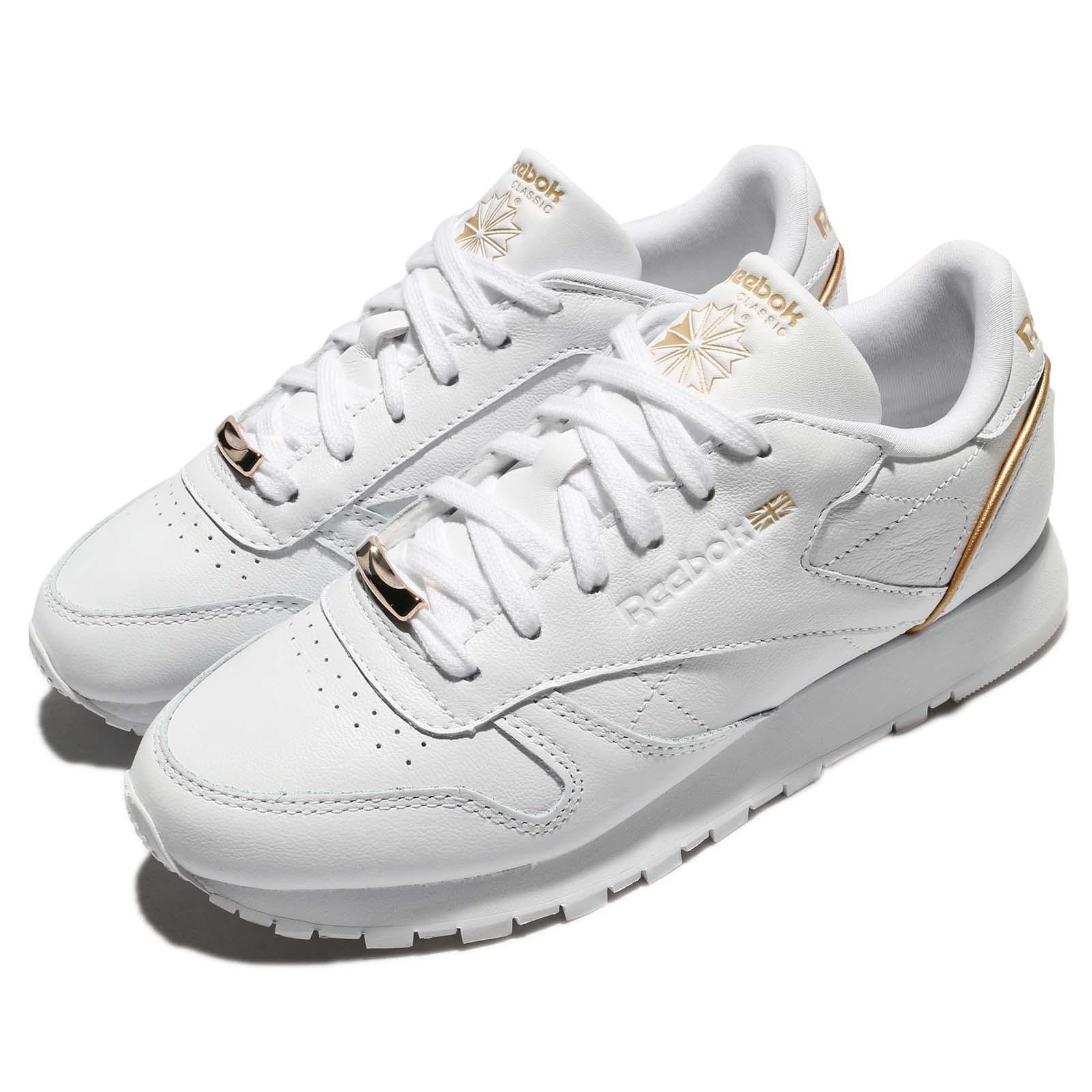 93a306e4b3fd1 Reebok CL LTHR HW Classic Leather White Sleek Met Women Running Shoes BS9878