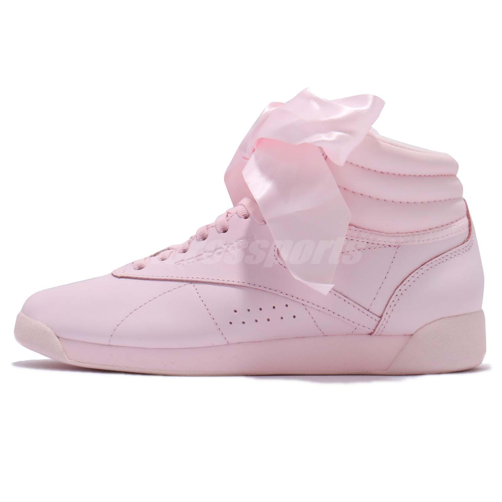 eae541c1b51bd Details about Reebok Classic Freestyle F/S Hi Satin Bow Pink Women Shoes  Sneakers CM8905