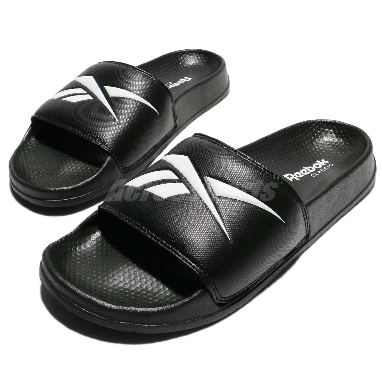 7a282d768 Details about Reebok Classic Slide Black White Big Logo Men Women Sports Sandal  Slipper CN0212