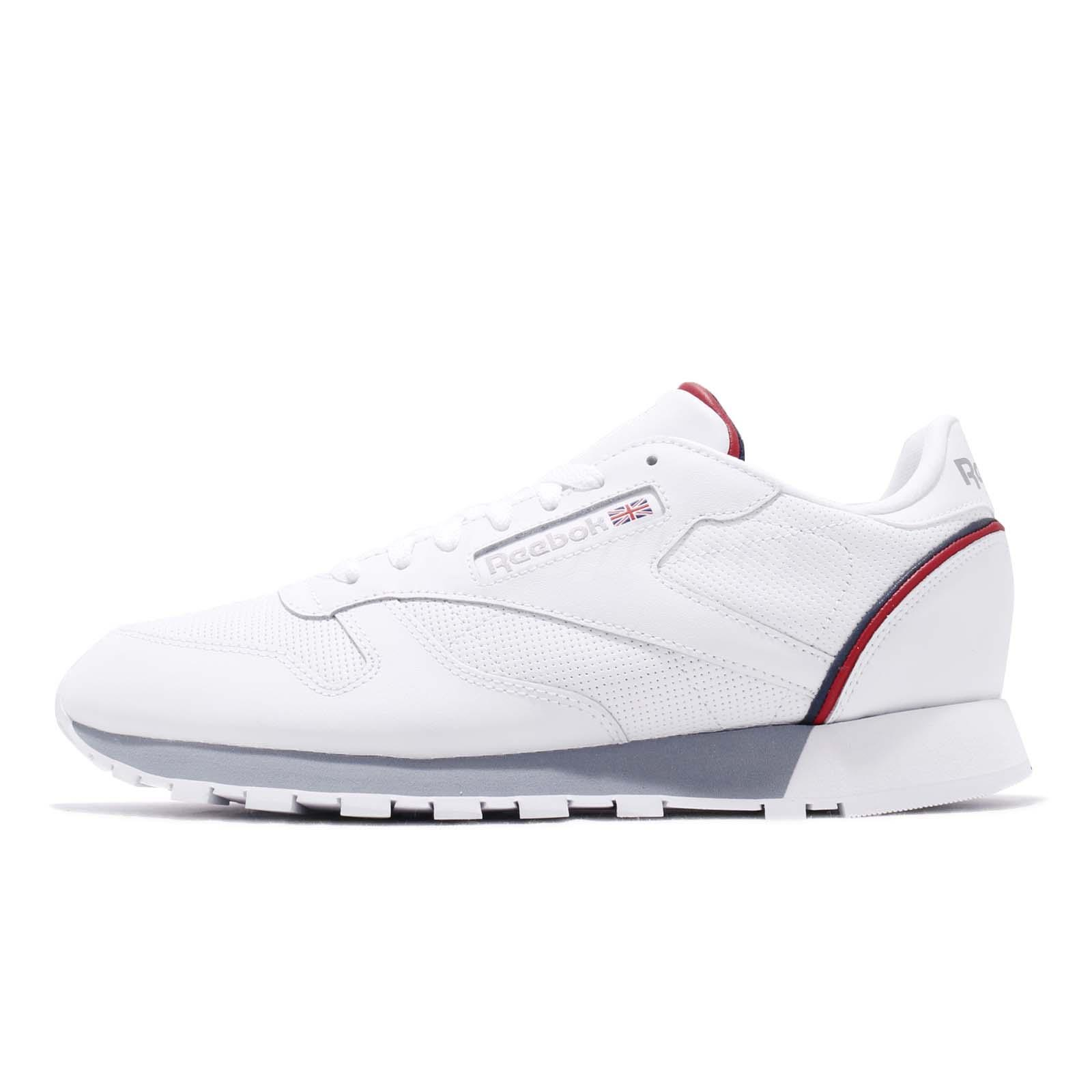 e253c025384 Reebok CL Leather MU White Navy Red Men Classic Casual Shoes Sneakers CN3641