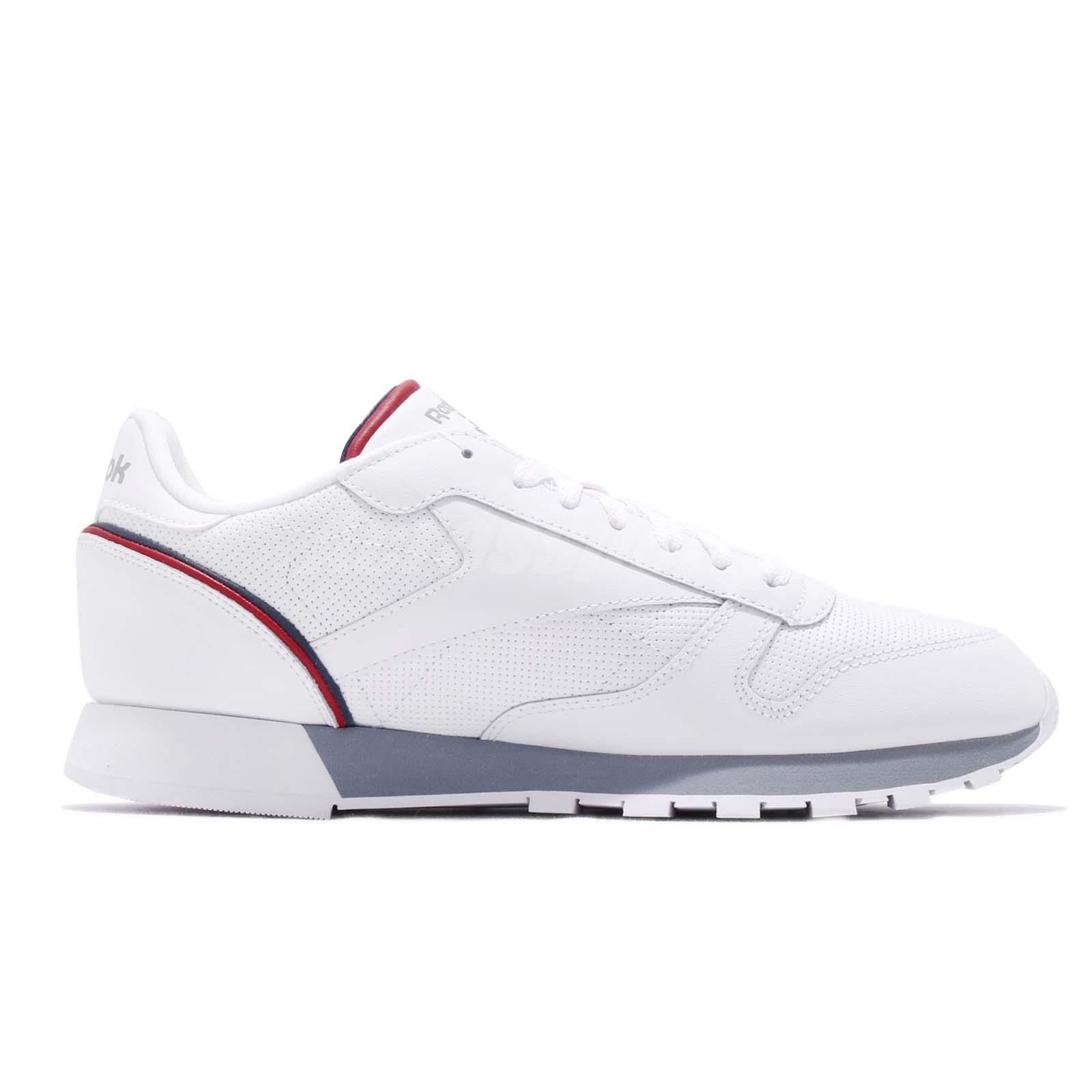 2236ca9fded Reebok CL Leather MU White Navy Red Men Classic Casual Shoes ...