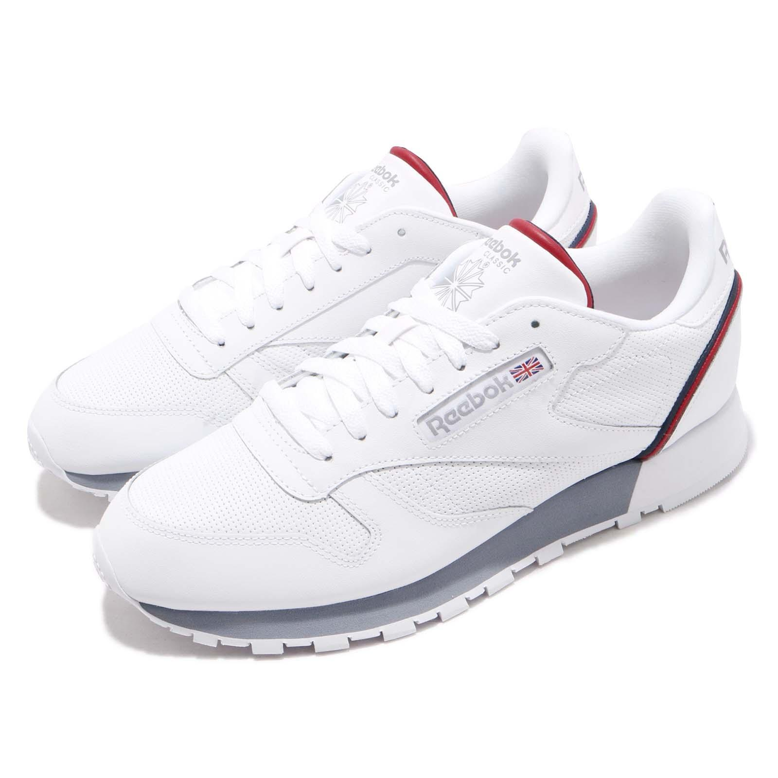 b1090d192f4 Details about Reebok CL Leather MU White Navy Red Men Classic Casual Shoes  Sneakers CN3641