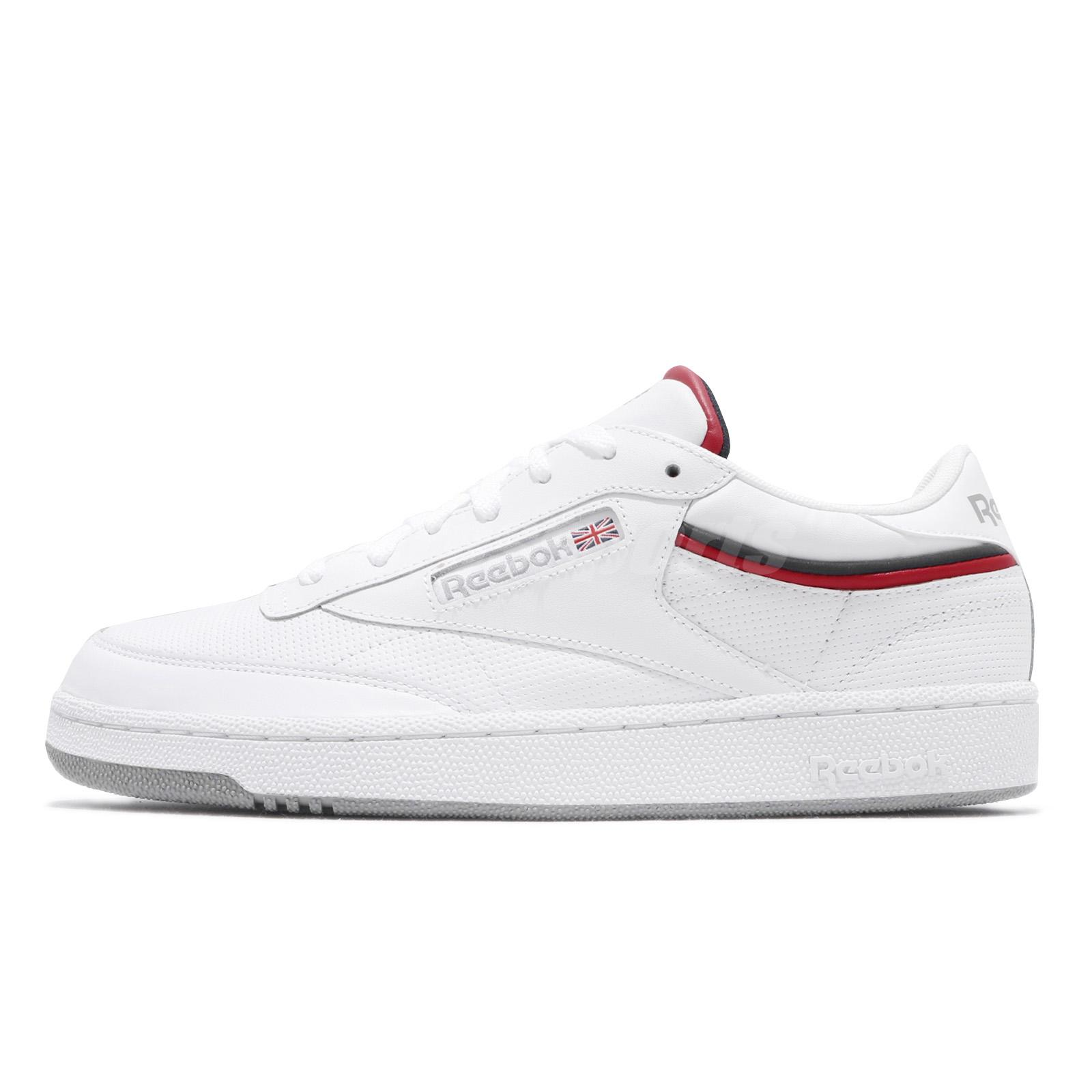 932df4194d45 Reebok Club C 85 MU White Navy Red Men Classic Casual Shoes Sneakers CN3761