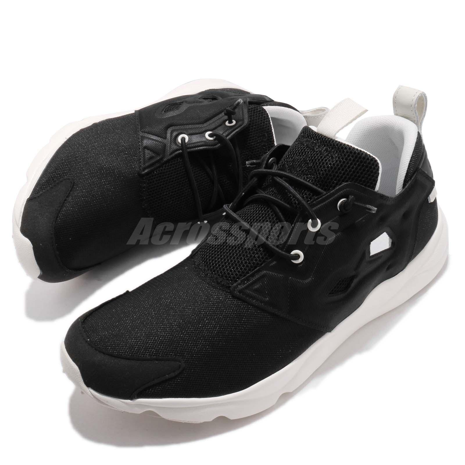 04e289c72648 Reebok Furylite Clean Black White Slip On Men Running Shoes Sneakers ...