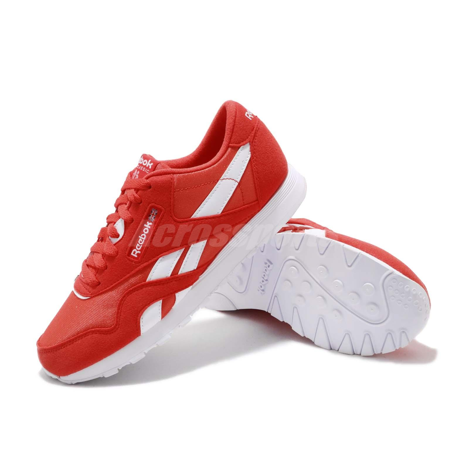 Reebok CL Nylon Color Canton Red White Classic Mens Womens Running