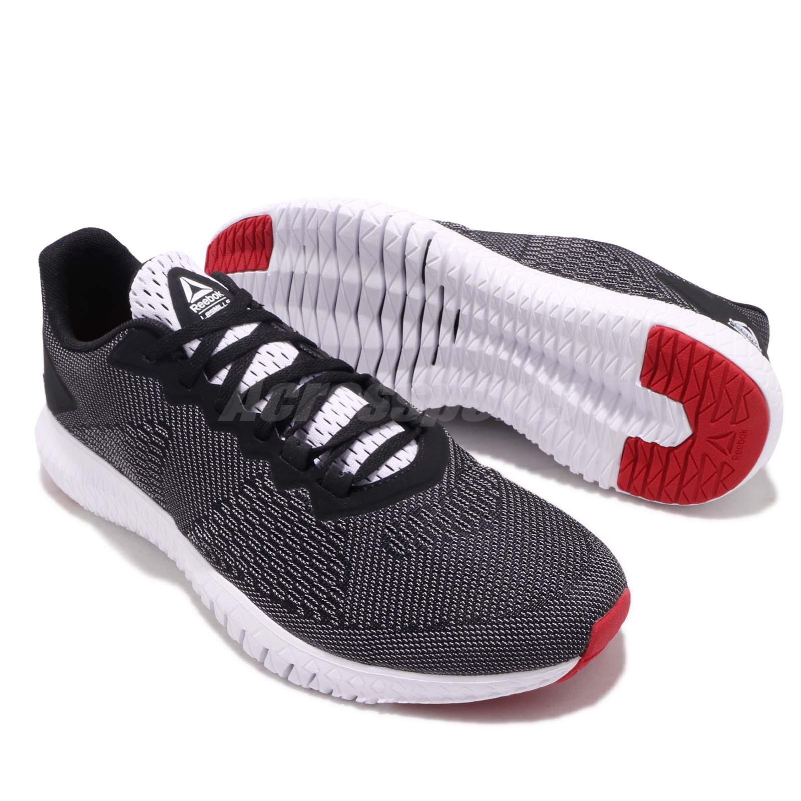 f3b8eb6630cb7 Reebok Flexagon LM White Black Red Men Cross Training Shoes Sneakers ...