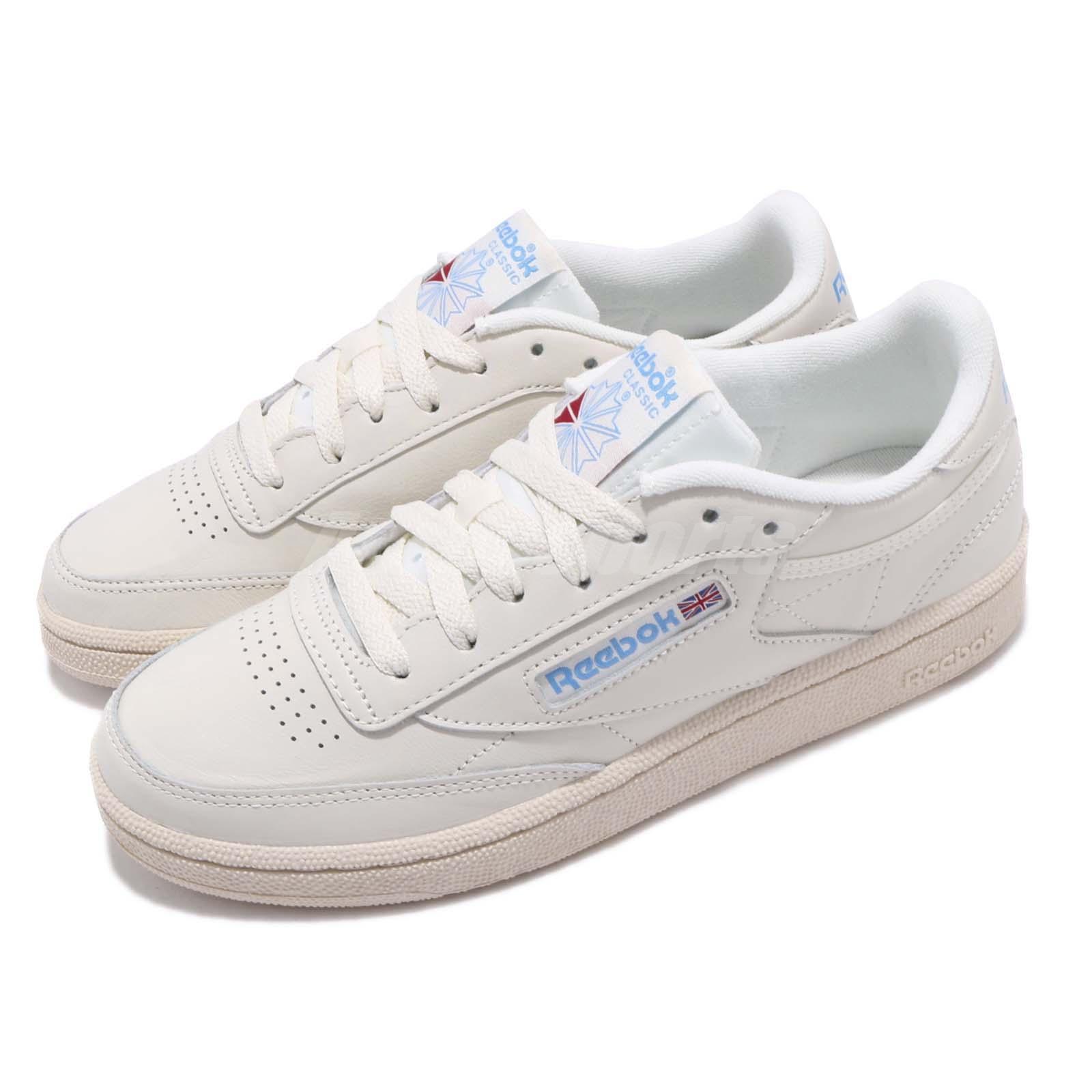 20957382 Detalhes sobre Reebok Club C 85 Vintage Bege Giz Azul Feminino Casual  Sapatos Tênis V69406- mostrar título no original