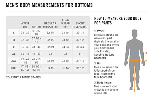 Nike size chart for compression shorts sizing charts ayucar com
