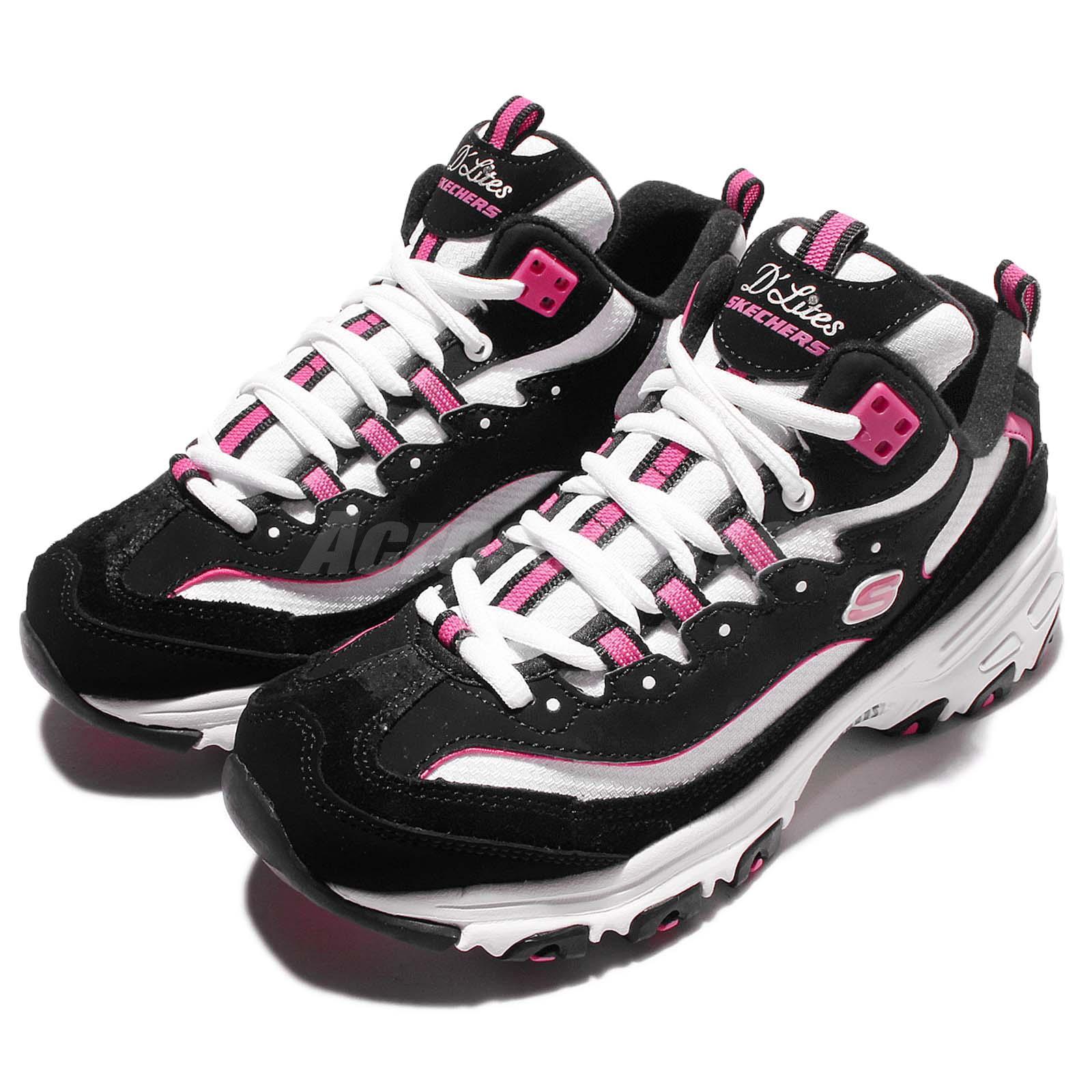 Skechers D lites D liteful Black Pink Womens Running Shoes ...