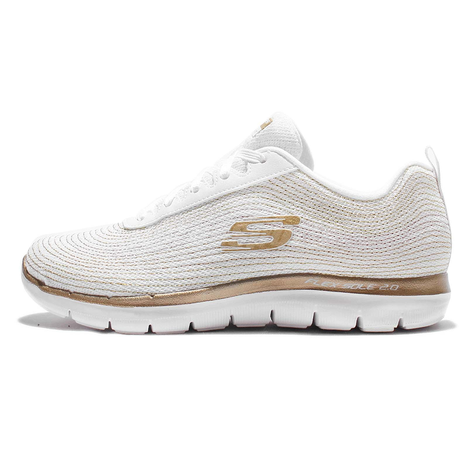 51f7e2ae0 Skechers Flex Appeal 2.0-Metal Madness White Gole Womens Running Shoes  12764-WGD