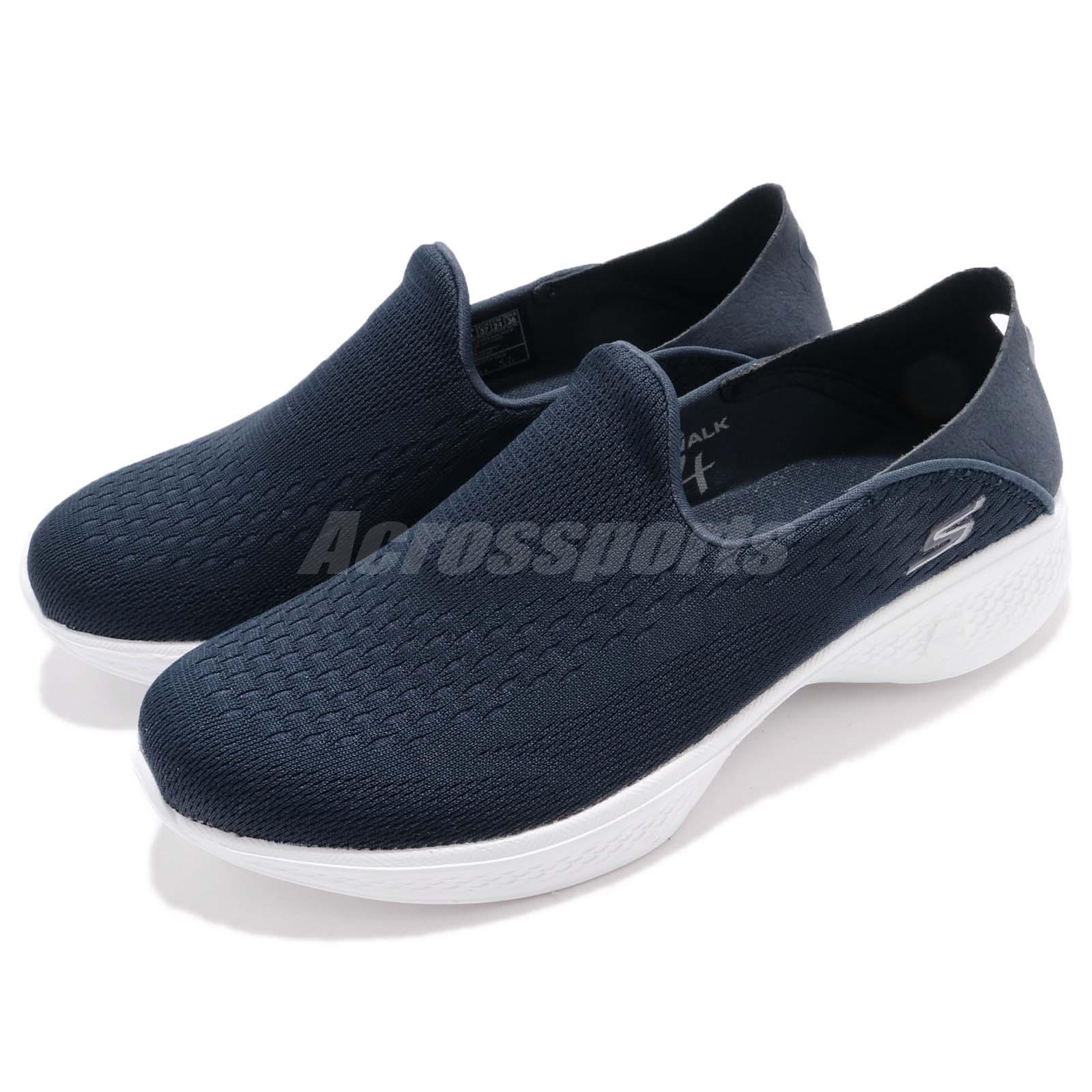 Skechers Go Walk 4 Convertible Navy White Women Slip On Walking Shoes 14929-NVW