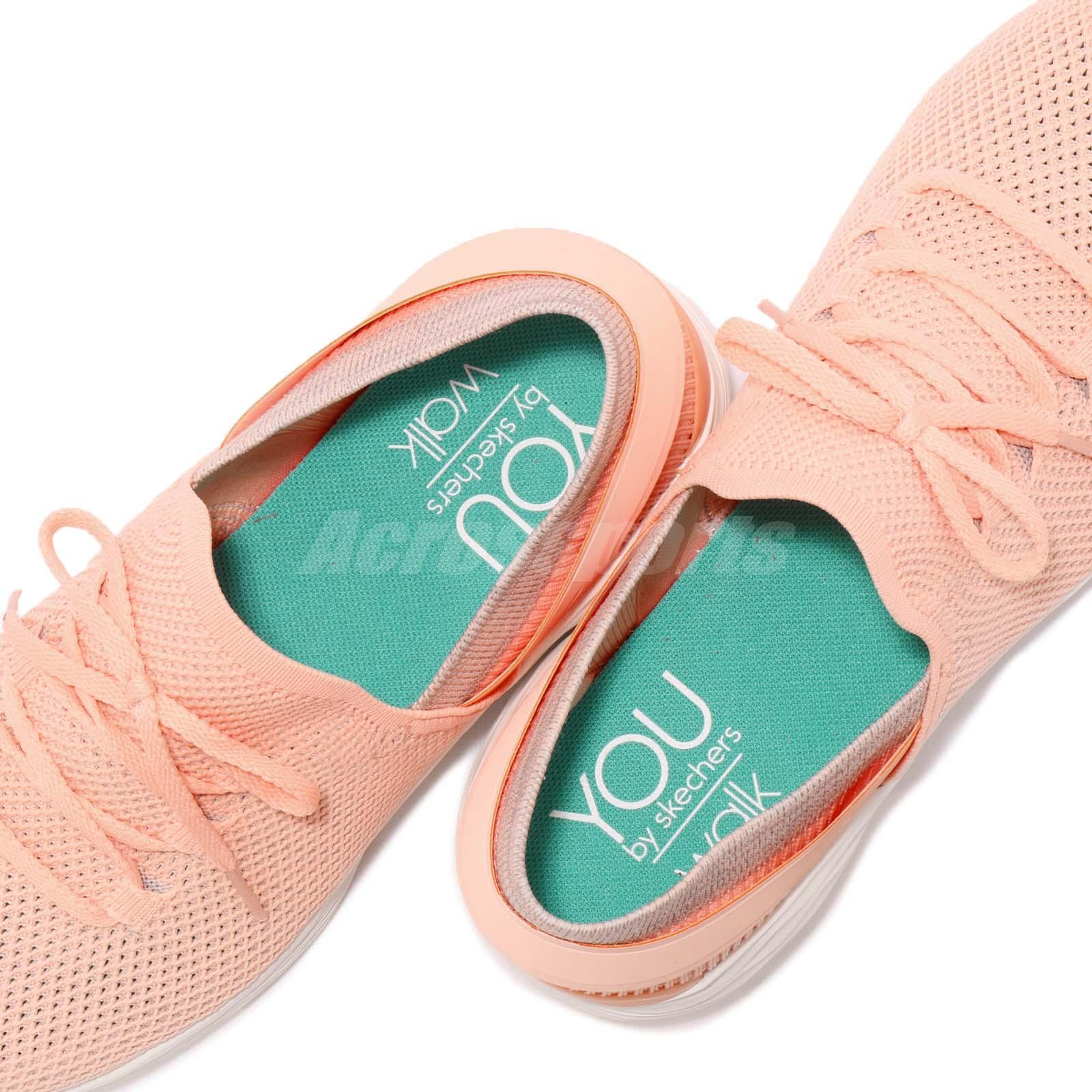 592a9db10296 Skechers You-Spirit Peach Pink White Women Casual Walking Shoe ...